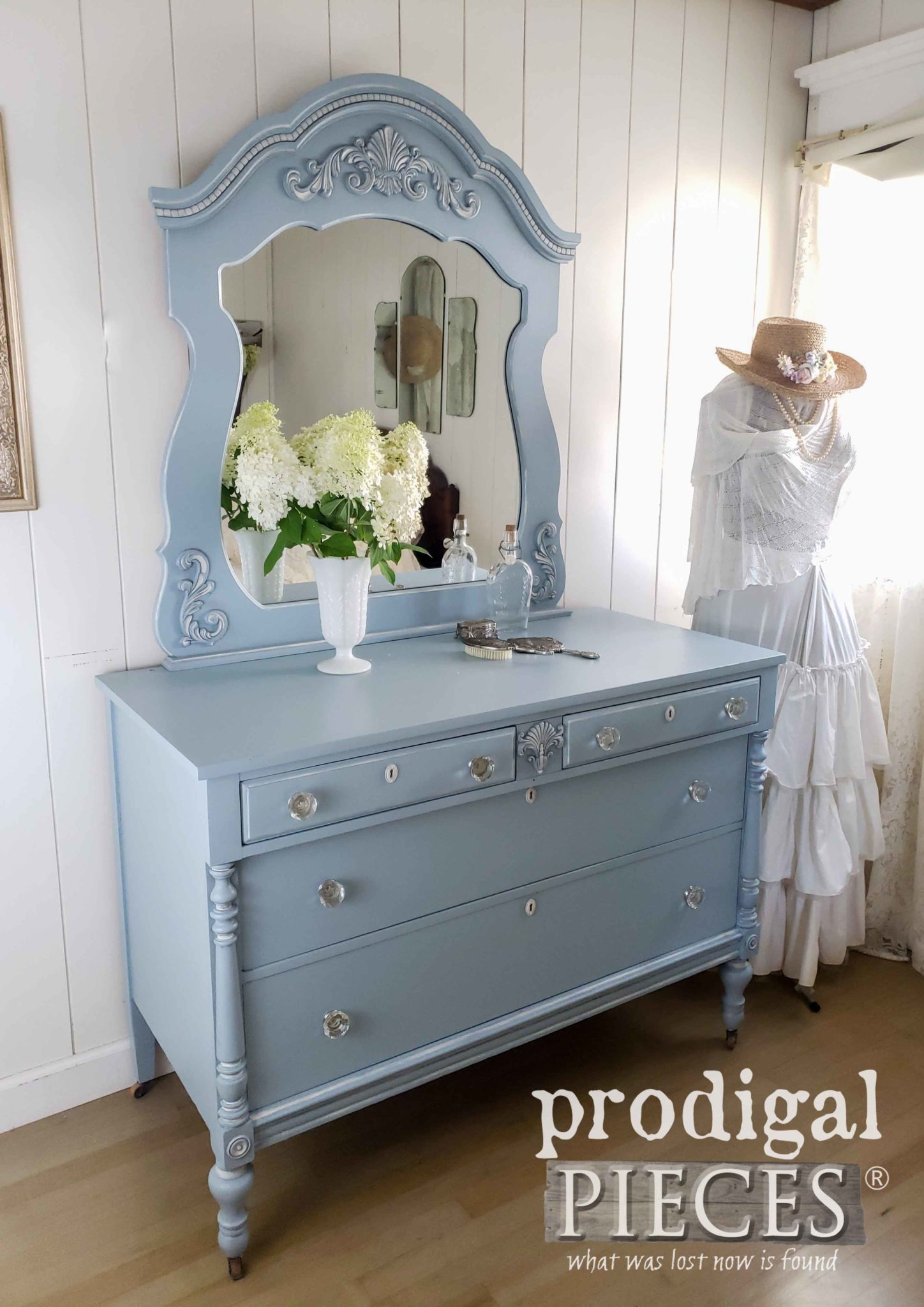 Beautiful Blue Vintage Mirrored Dresser by Larissa of Prodigal Pieces | prodigalpieces.com
