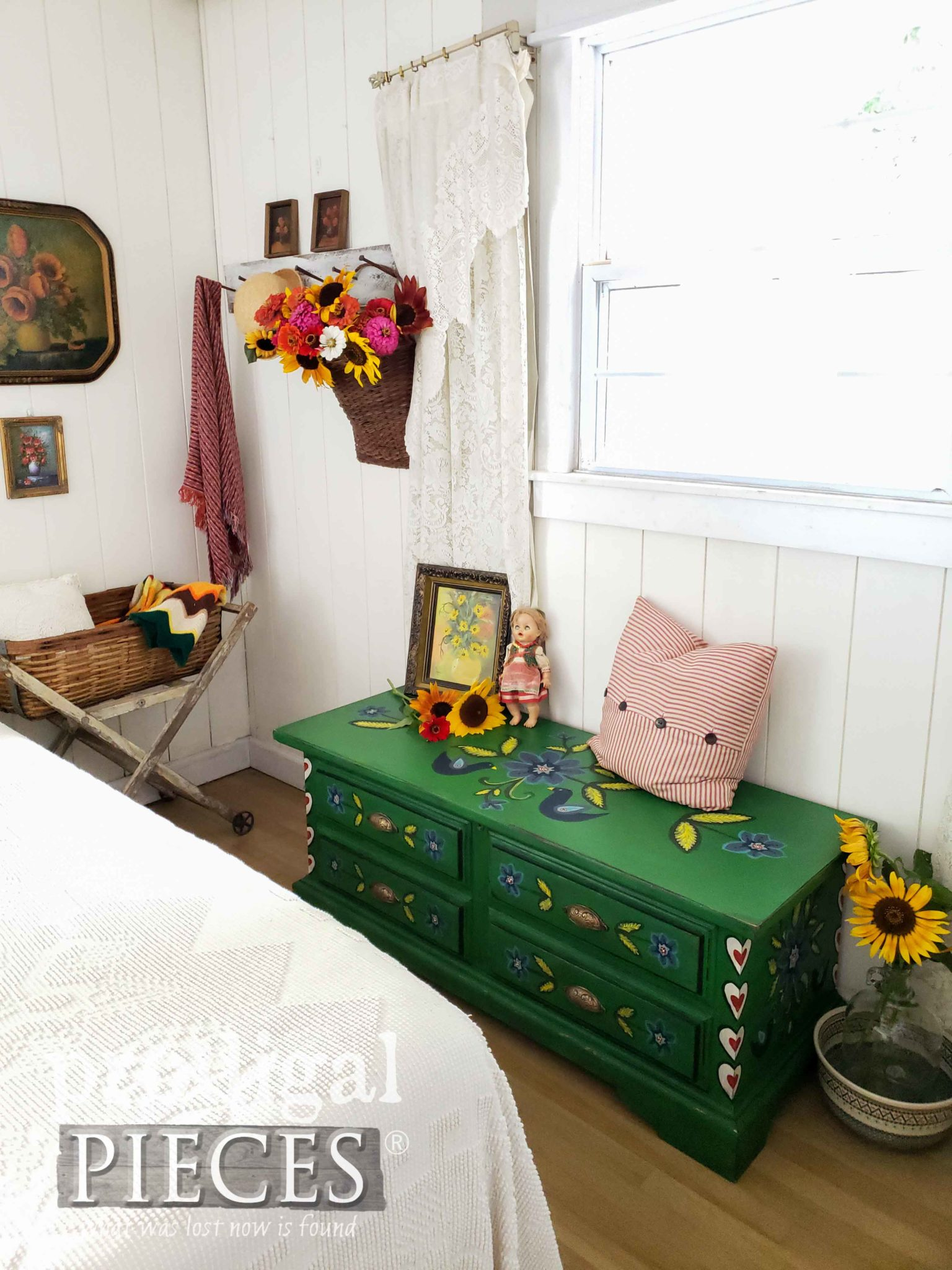 Vintage Style Bedroom Decor with Folk Art Influence by Larissa of Prodigal Pieces | prodigalpieces.com