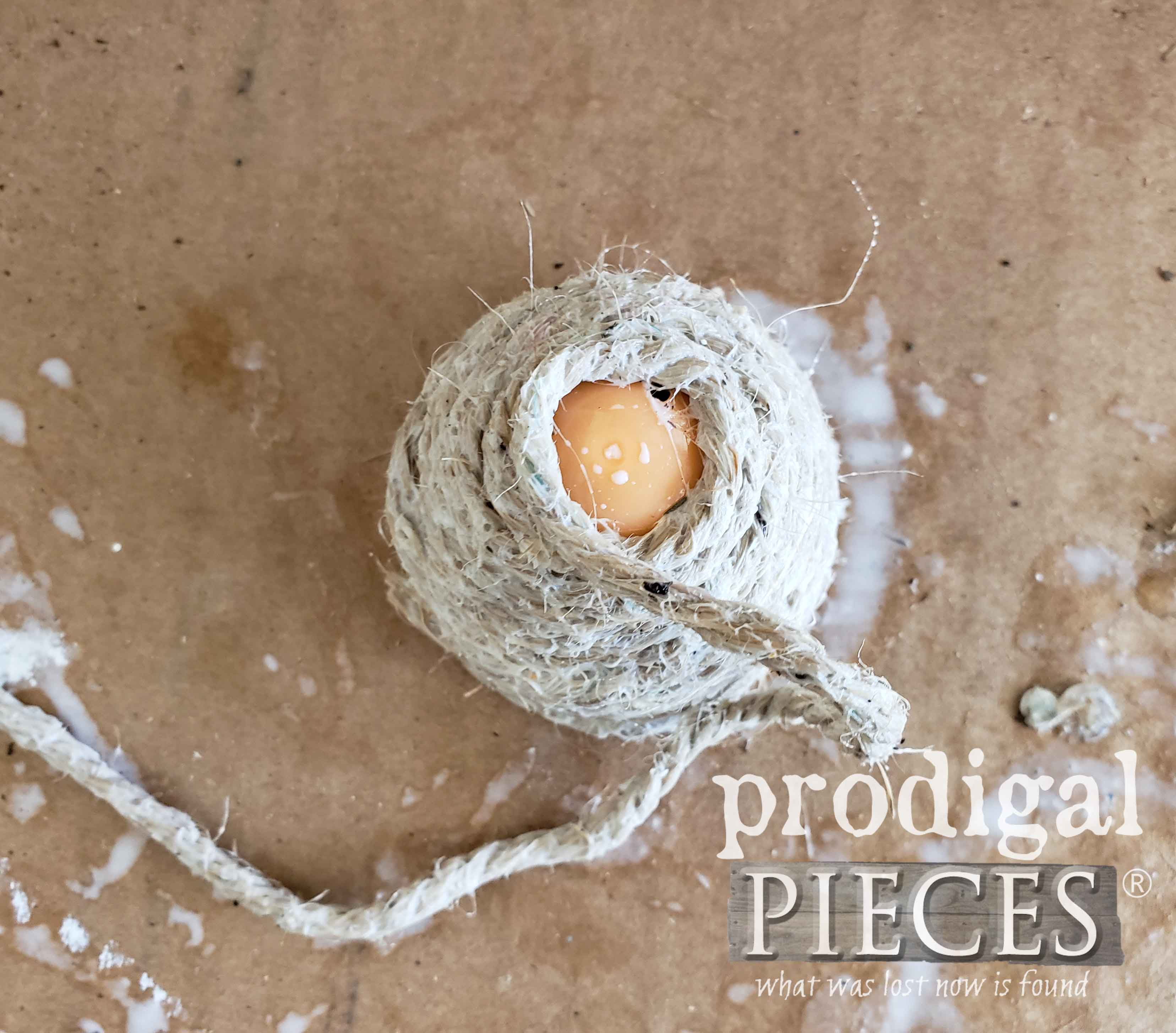 Wrapping Twine to Make Miniature Bee Skep by Prodigal Pieces | prodigalpieces.com