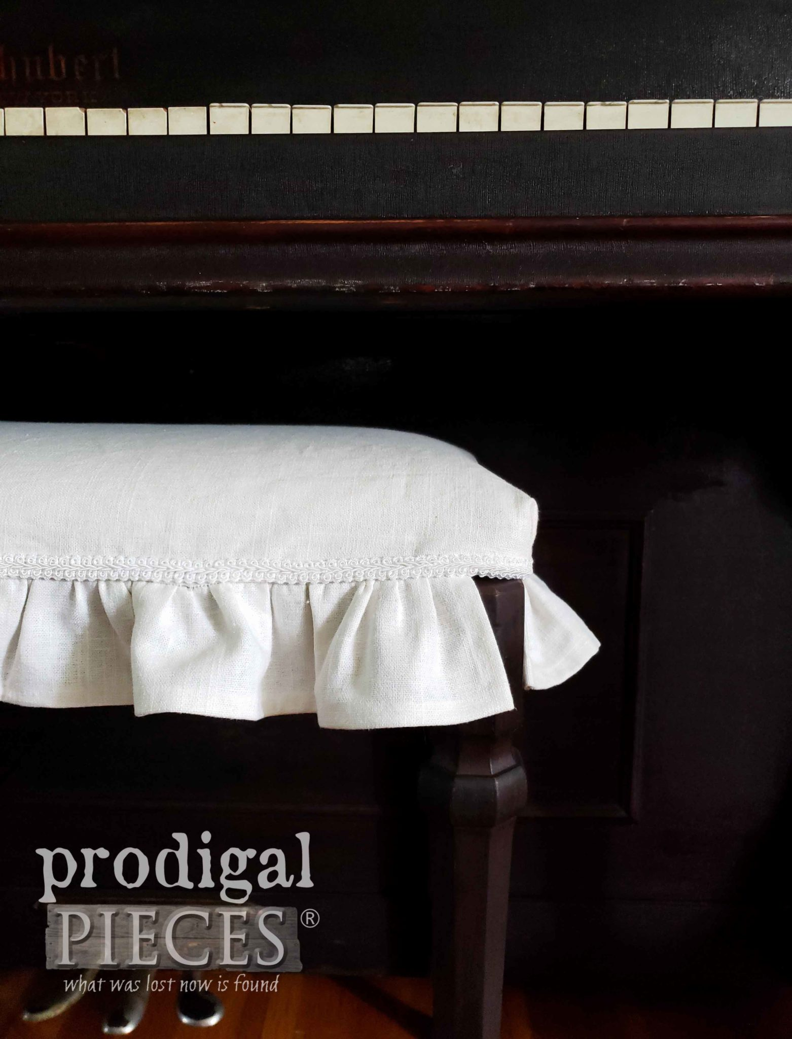 Handmade Antique Piano Bench White Linen Slipcover by Prodigal Pieces | prodigalpieces.com