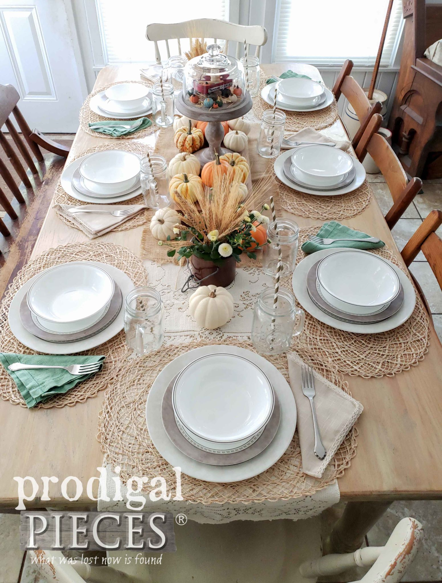 Farmhouse Autumn Tablescape with Natural Elements by Larissa of Prodigal Pieces | prodigalpieces.com