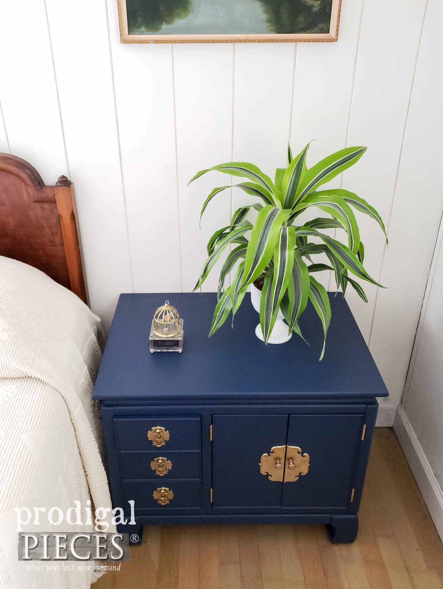 Vintage Blue Chest Nightstand Top | prodigalpieces.com