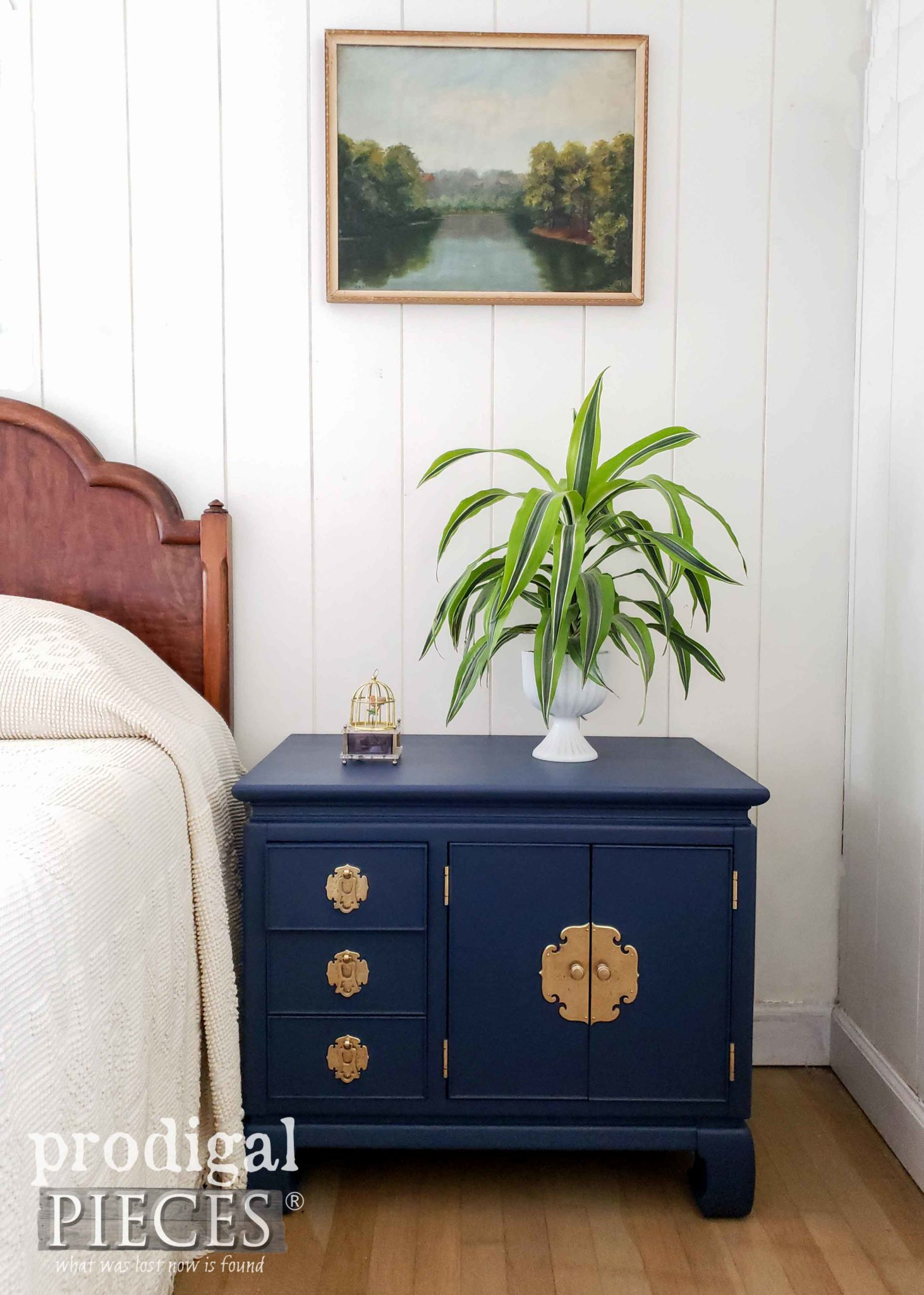Blue Vintage Chest Nightstand with Gorgeous Brass Hardware by Larissa of Prodigal Pieces | prodigalpieces.com
