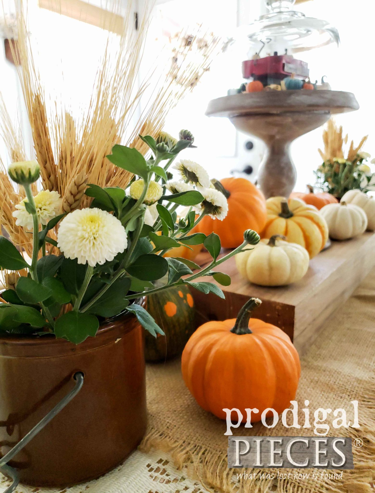 Farmhouse Canning Jar Filled with Wheat and Chrysanthemums for Fall Decor by Larissa of Prodigal Pieces | prodigalpieces.com