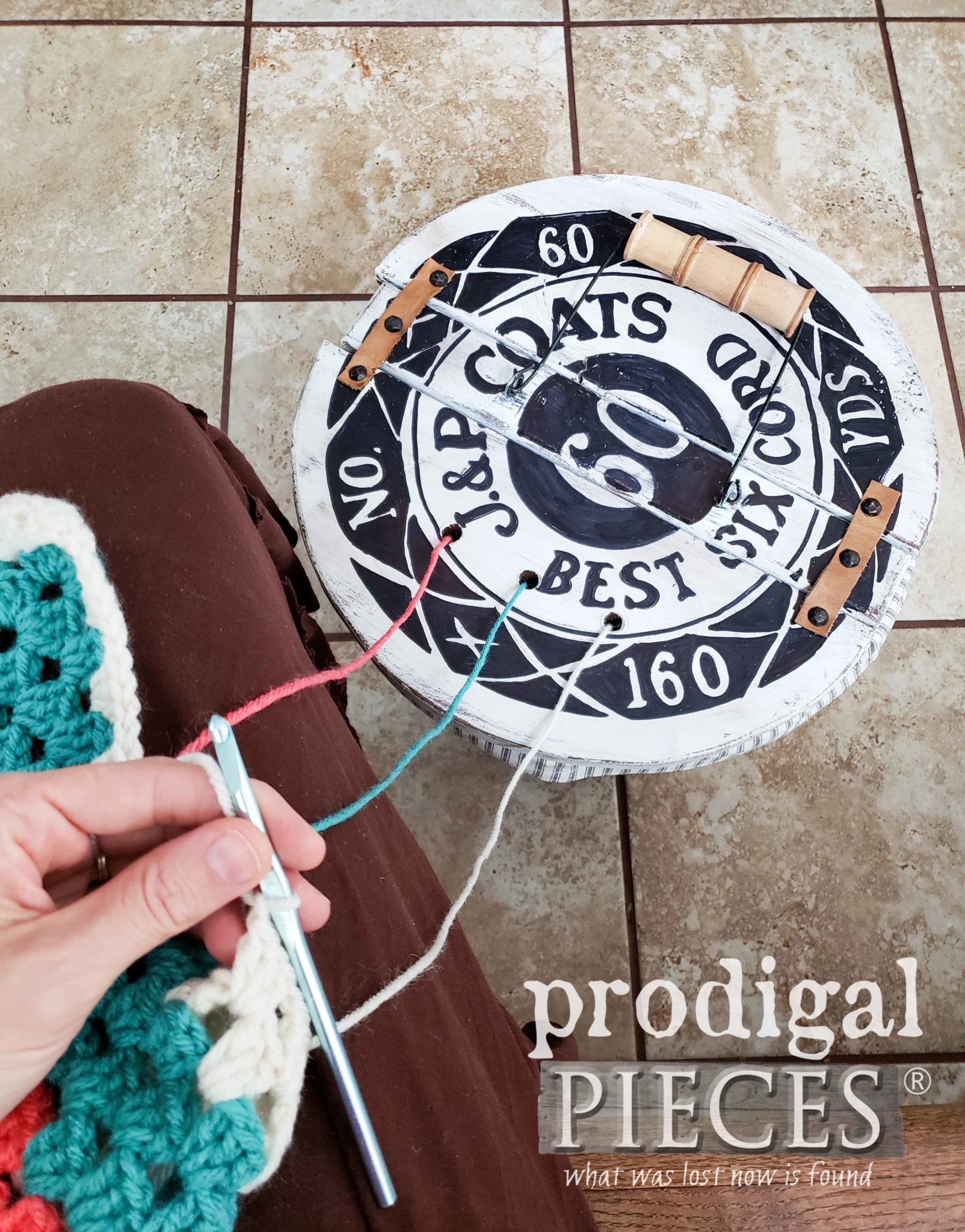 Crochet and Knitting Basket with Yarn Holder Feature by Larissa of Prodigal Pieces | prodigalpieces.com