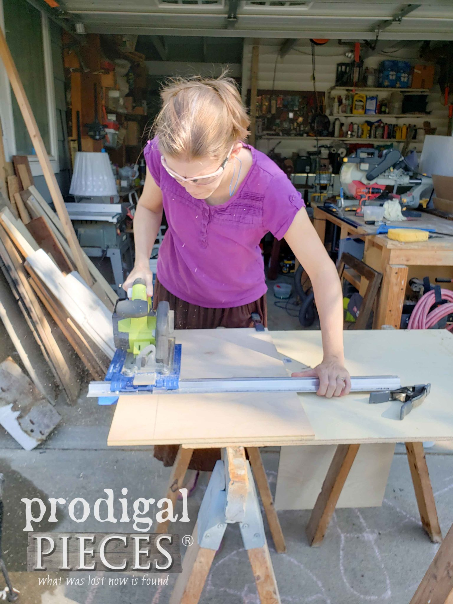Cutting Plywood Pieces with Ryobi Circular Saw and Kreg RipCut by Larissa of Prodigal Pieces | prodigalpieces.com