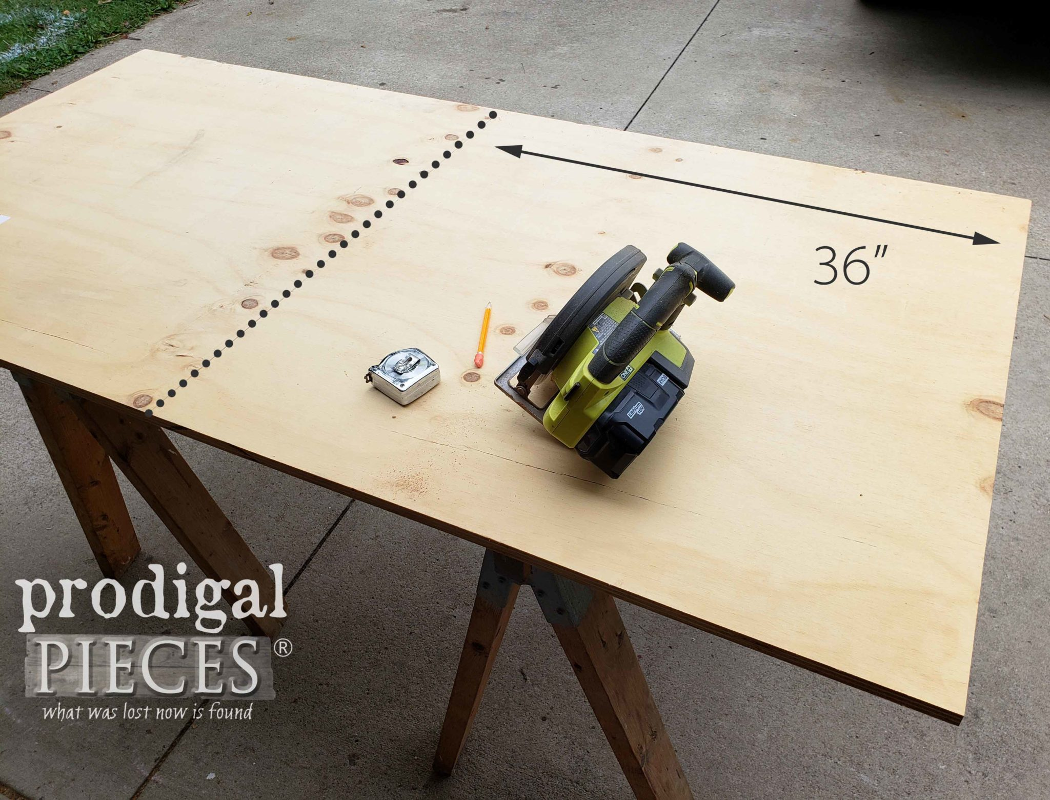 Cutting Plywood with Ryobi Circular Saw | prodigalpieces.com