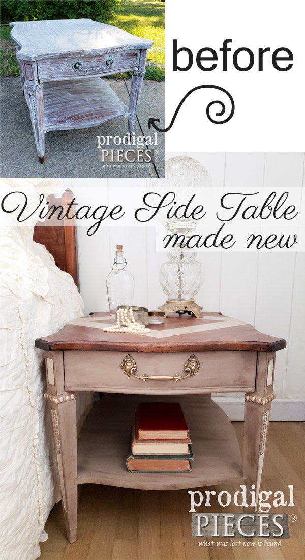 What a transformation! This vintage side table was looking pretty sad until Larissa of Prodigal Pieces saw fit to give it new life. See the DIY details at prodigalpieces.com #prodigalpieces #furniture #diy #home #homedecor #handmade