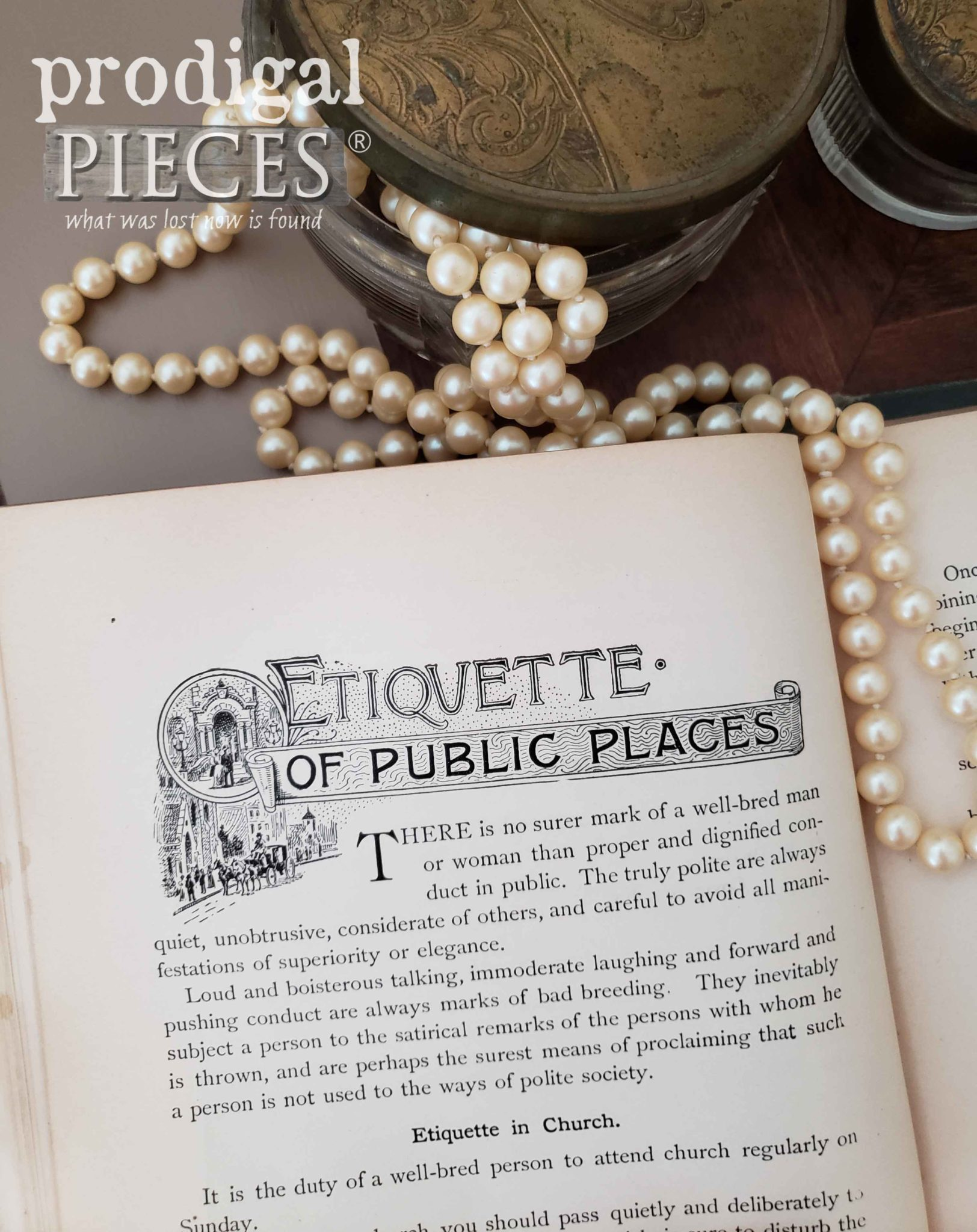 Etiquette of Public Places Page in Antique Book by Prodigal Pieces | prodigalpieces.com