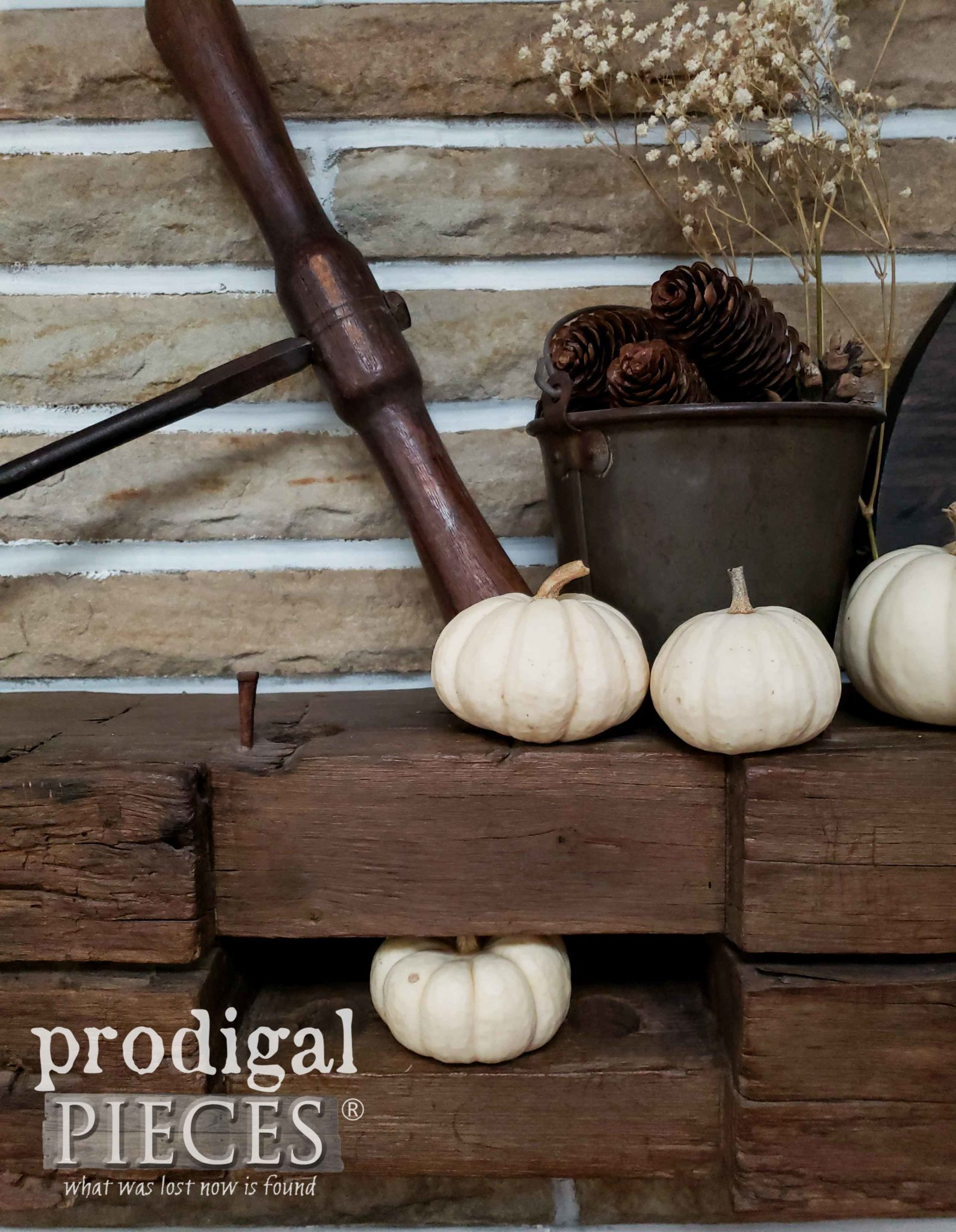 Rustic Farmhouse Fall Mantel by Larissa of Prodigal Pieces | prodigalpieces.com