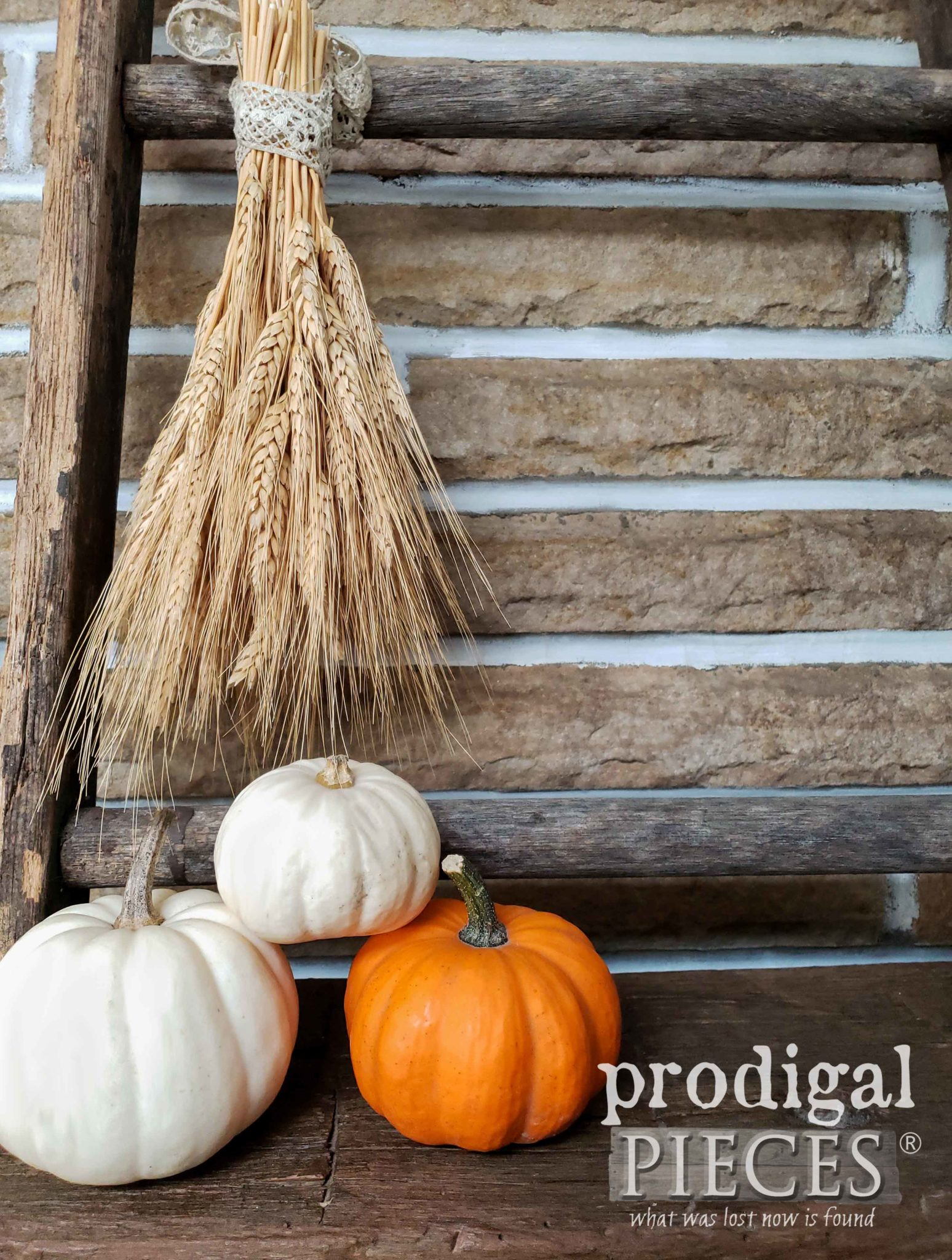 Farmhouse Fall Vignette on Mantel by Larissa of Prodigal Pieces | prodigalpieces.com