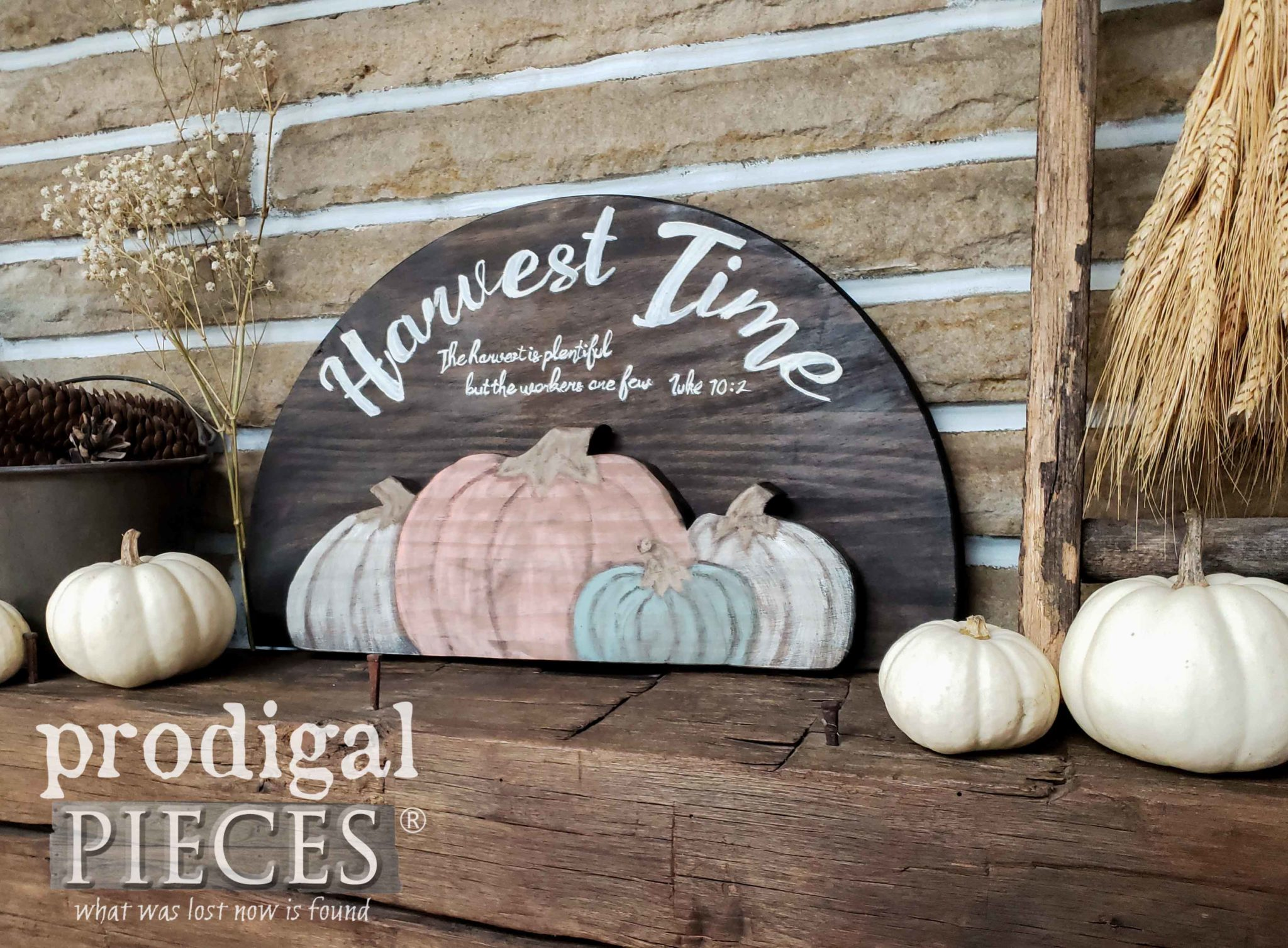 Rustic Farmhouse Harvest Sign with Tutorial by Larissa of Prodigal Pieces | prodigalpieces.com