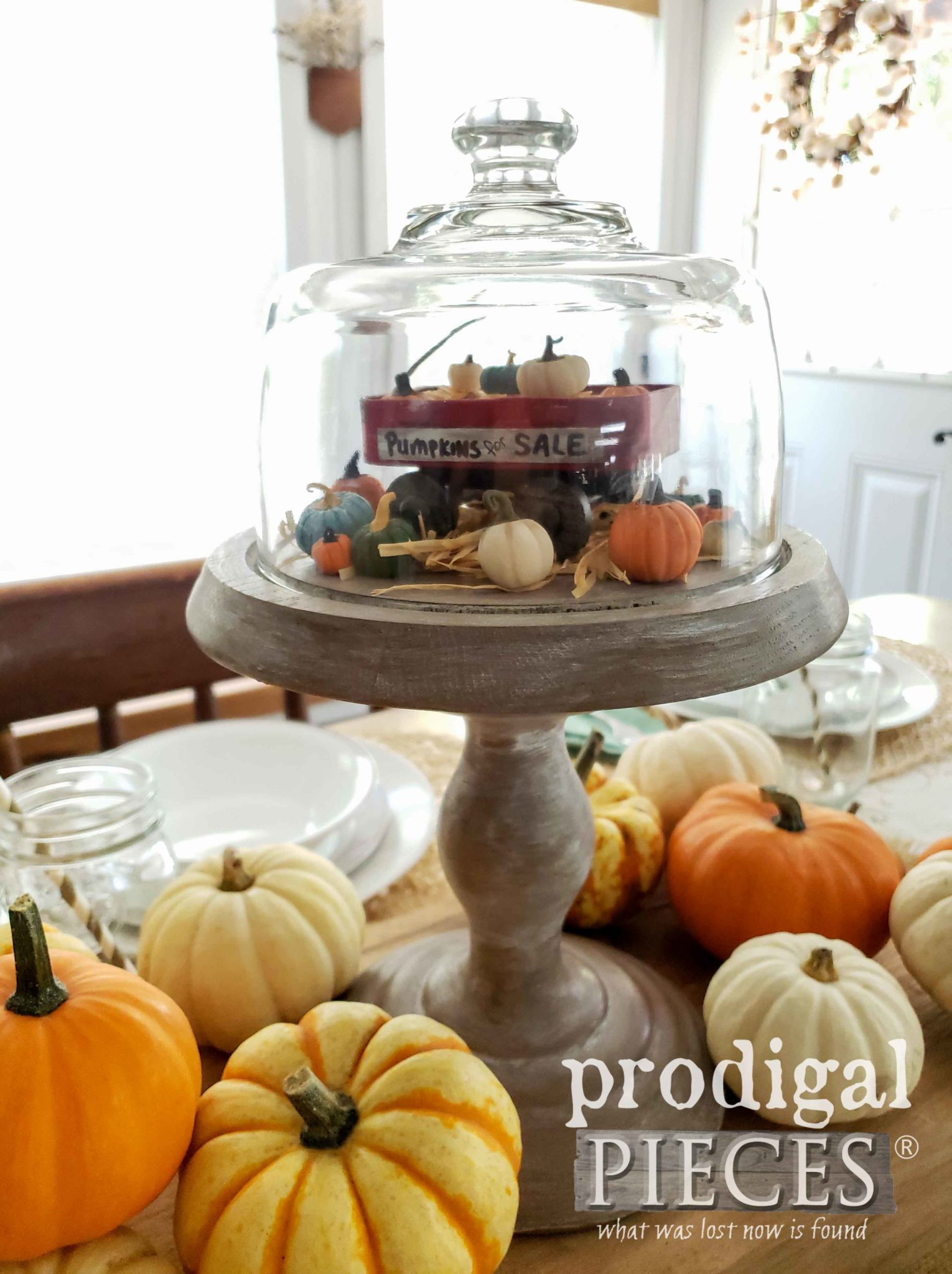 Farmhouse Pumpkin Cloche with Mini Wagon DIY by Larissa of Prodigal Pieces | prodigalpieces.com