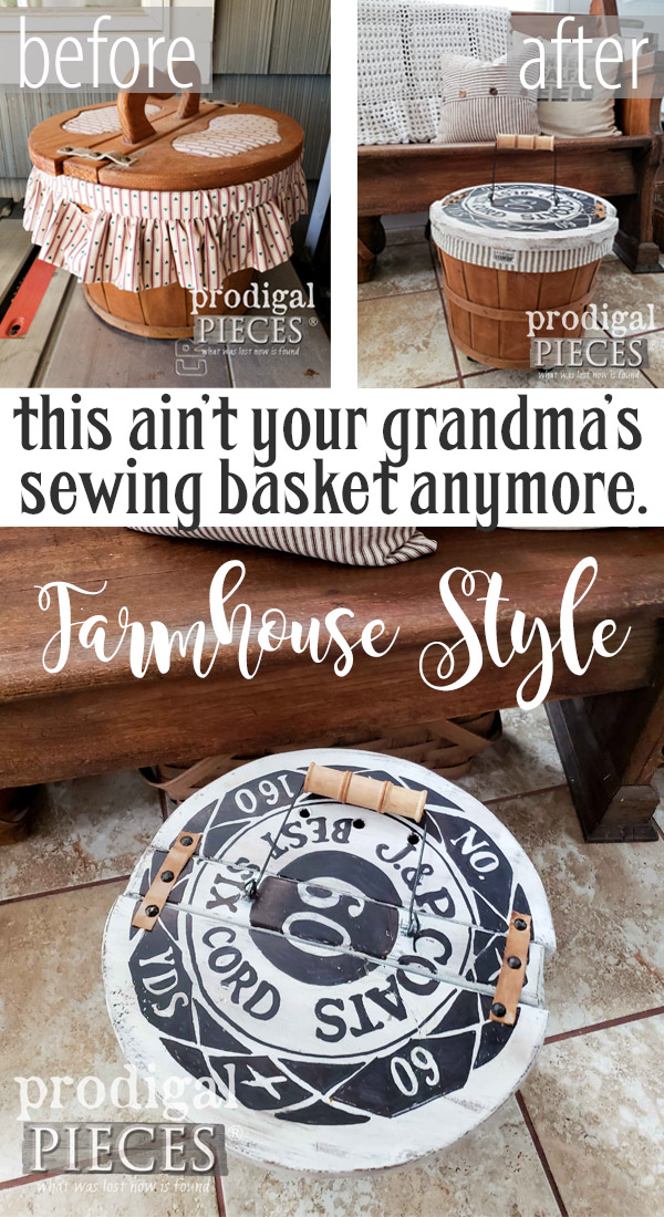 What a redo! This totally 80's sewing basket got the makeover of a lifetime with a farmhouse flair. See the DIY details at Prodigal Pieces | prodigalpieces.com #prodigalpieces #diy #handmade #sewing #farmhouse #homedecor #home #crafts