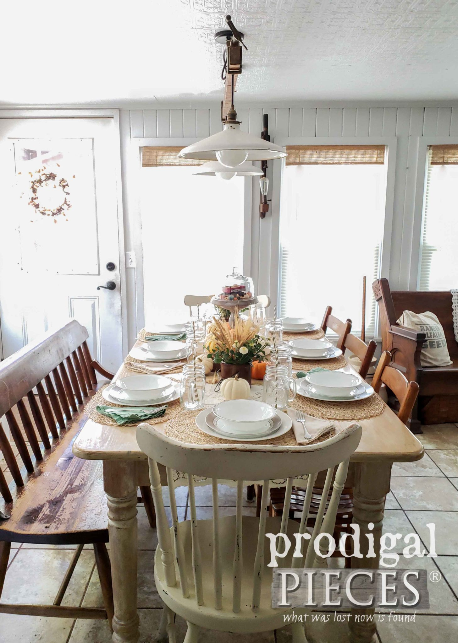 Handmade Farmhouse Style Dining Table with Fall Tablescape by Larissa of Prodigal Pieces | prodigalpieces.com