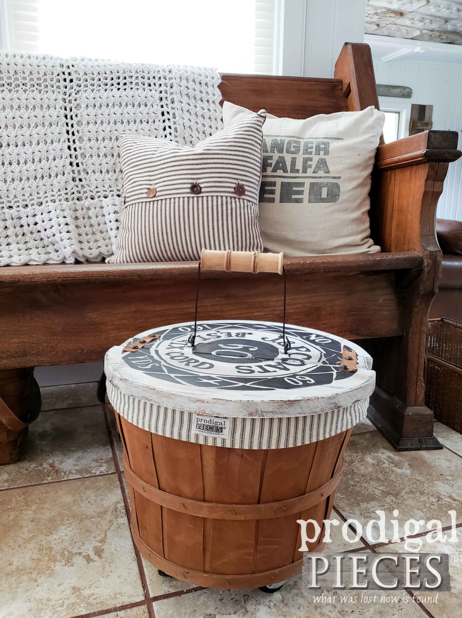 Farmhouse Style Sewing Basket with Vintage Spool Typography by Larissa of Prodigal Pieces | prodigalpieces.com