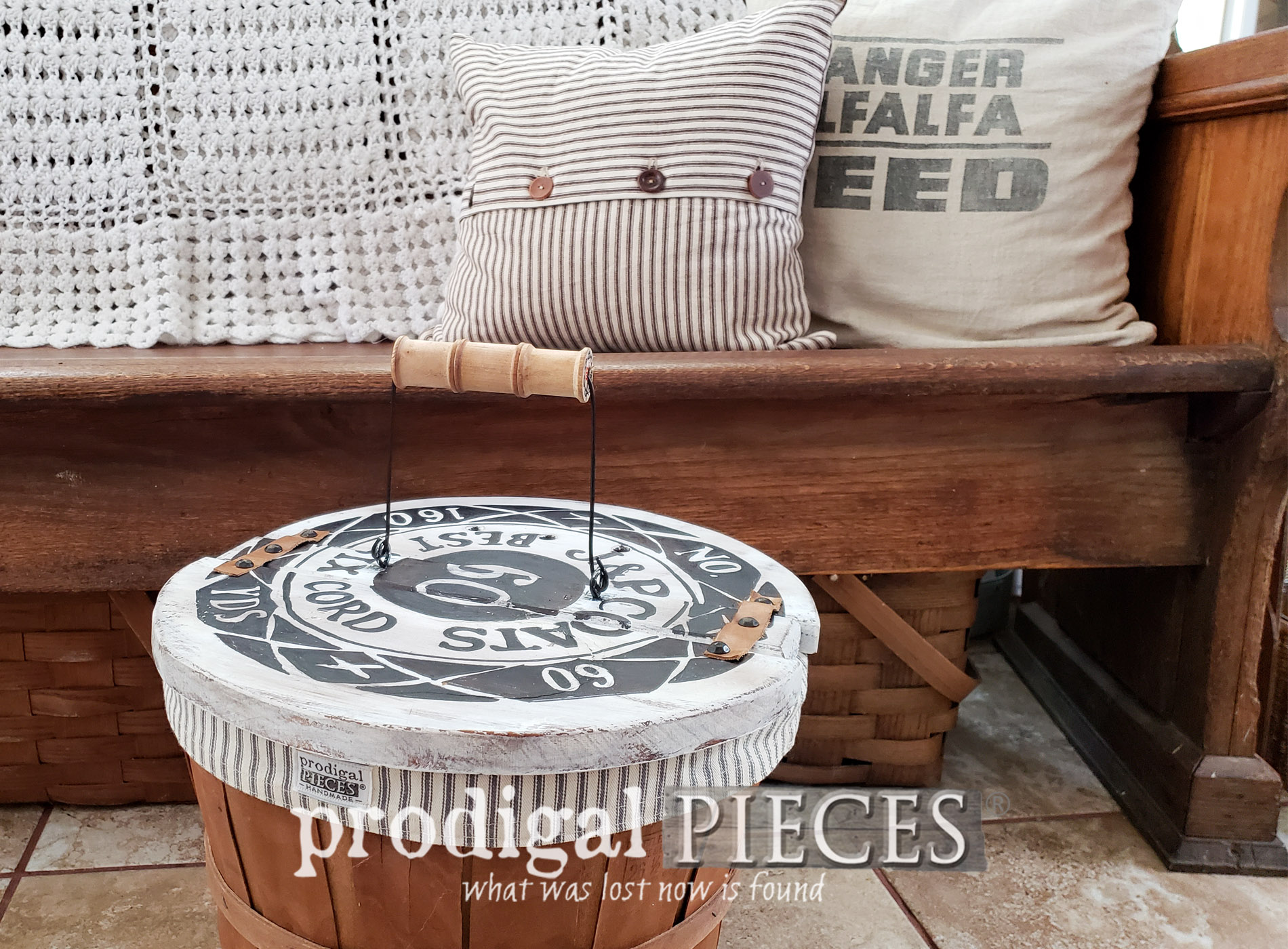 Featured Farmhouse Sewing Basket from 1980's Upcycled by Larissa of Prodigal Pieces | prodigalpieces.com