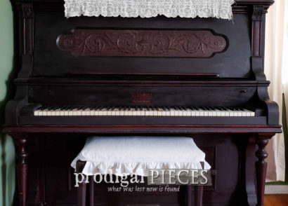 Featured Piano Bench Makeover with DIY Furniture Lazy Susan by Larissa of Prodigal Pieces | prodigalpieces.com