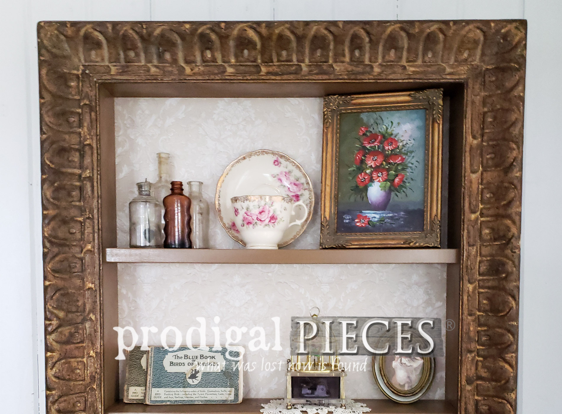 Featured Repurposed Picture Frames Turned Decorative Shelving by Larissa of Prodigal Pieces | prodigalpieces.com