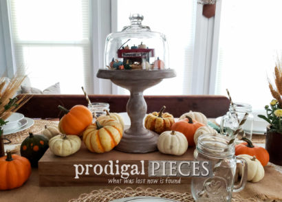 Featured Upcycled Cheese Dome in Fall Tablescape by Larissa of Prodigal Pieces | prodigalpieces.com