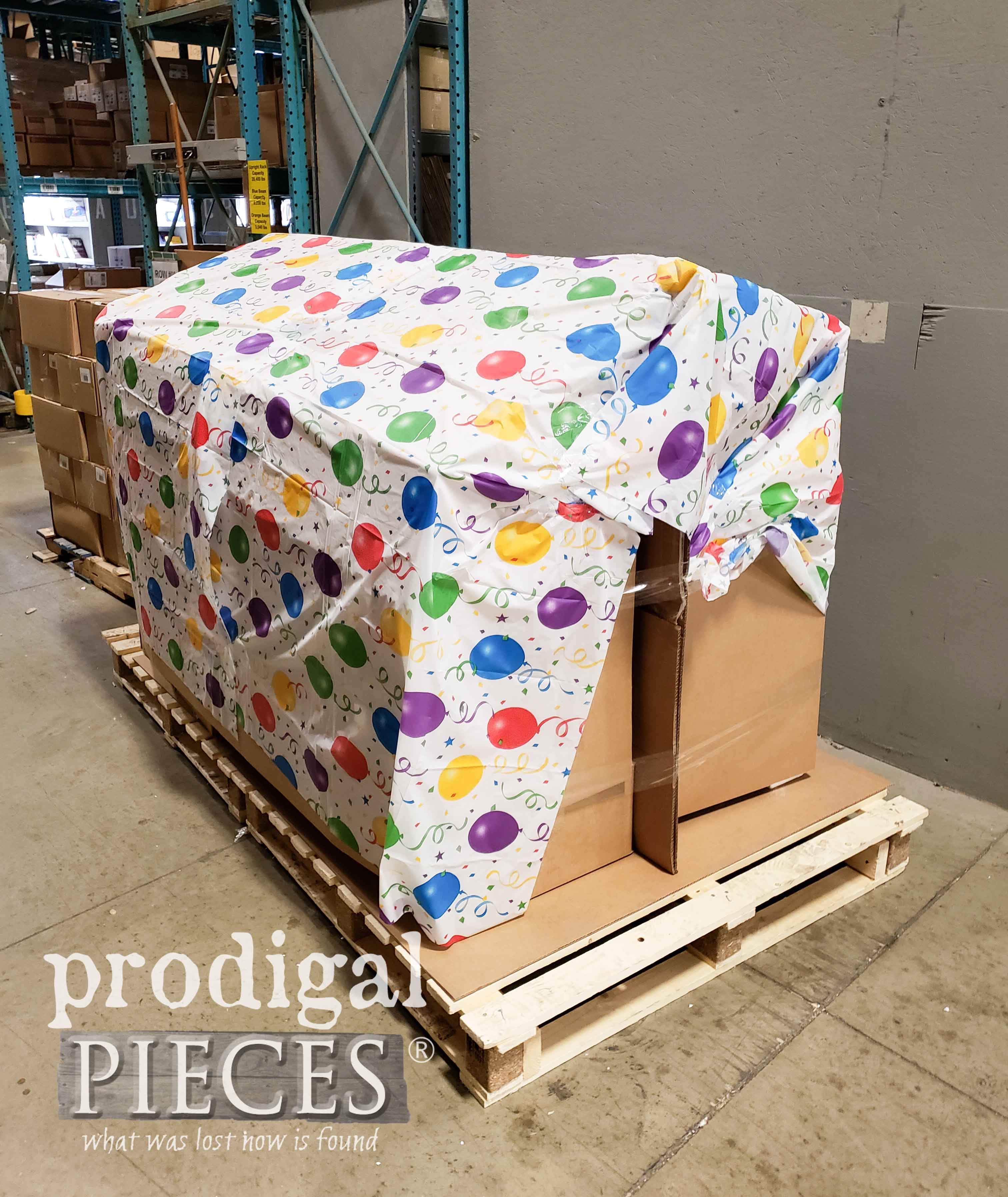 Pallet Prepared with Supplies and Gifts for Finding Home Program by Prodigal Pieces | prodigalpieces.com