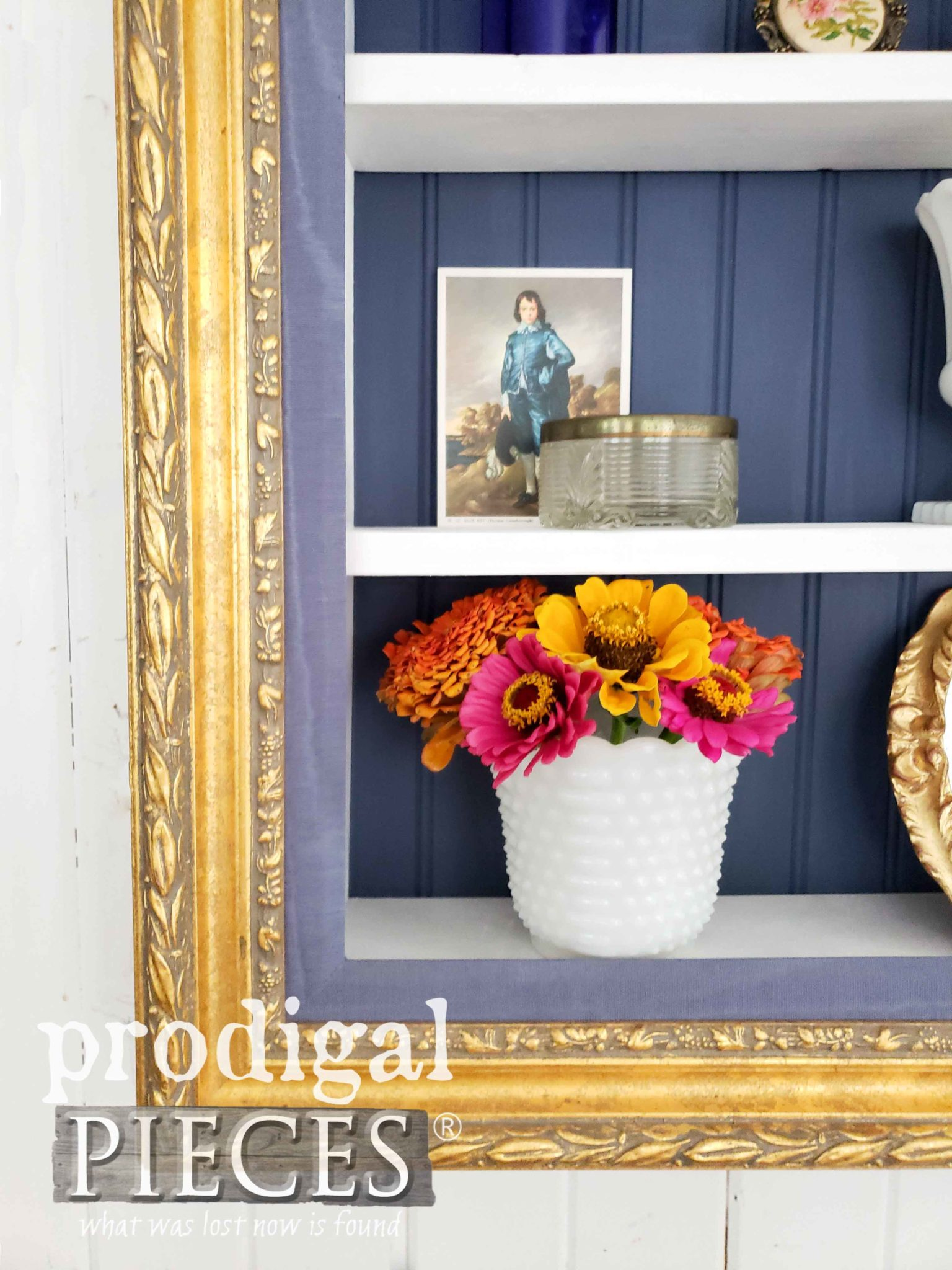 Gilded Gold with Blue Picture Frame Upcycled into Shelf by Larissa of Prodigal Pieces | prodigalpieces.com