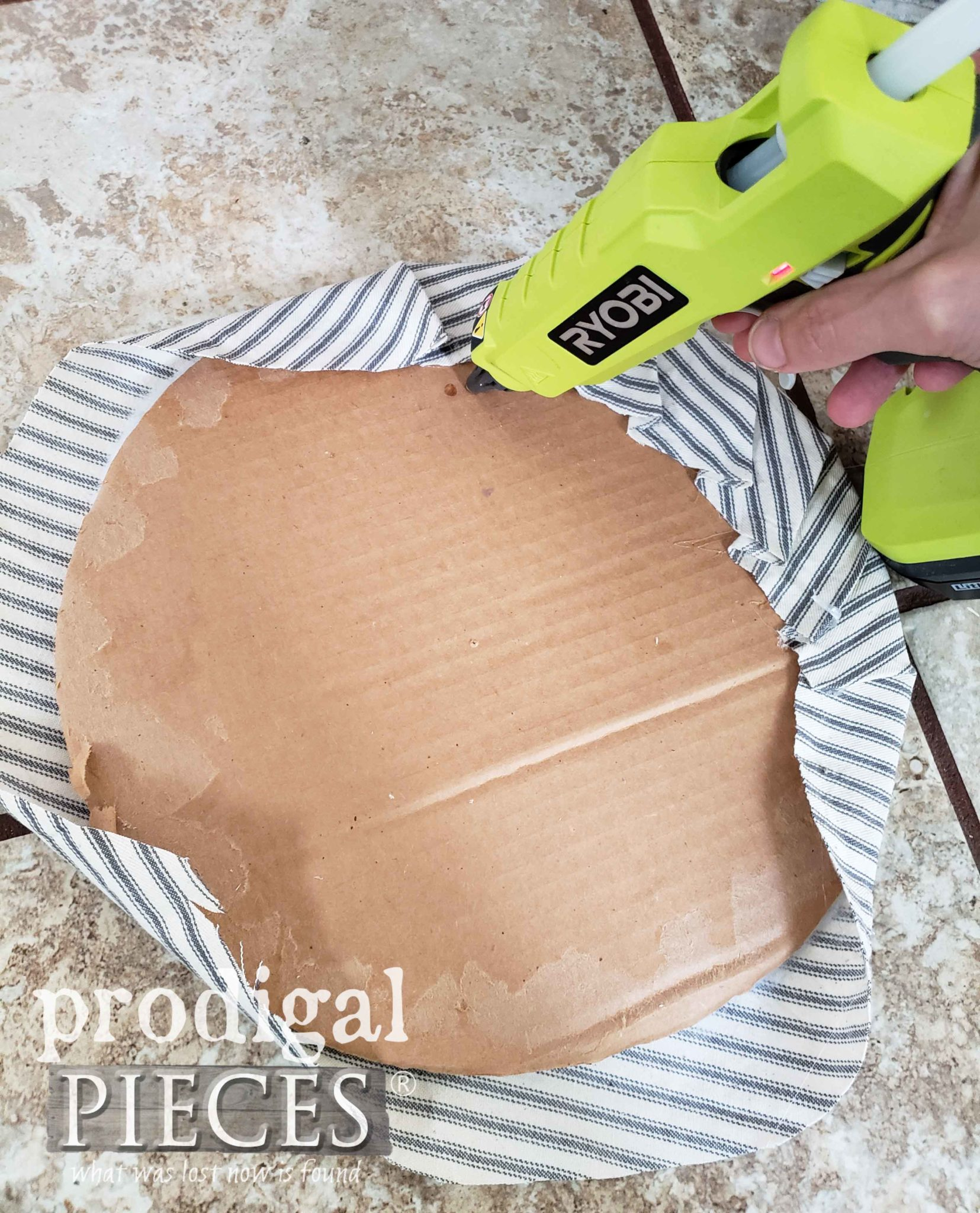 Gluing Upholstery with Ryobi Cordless Hot Glue Gun | prodigalpieces.com