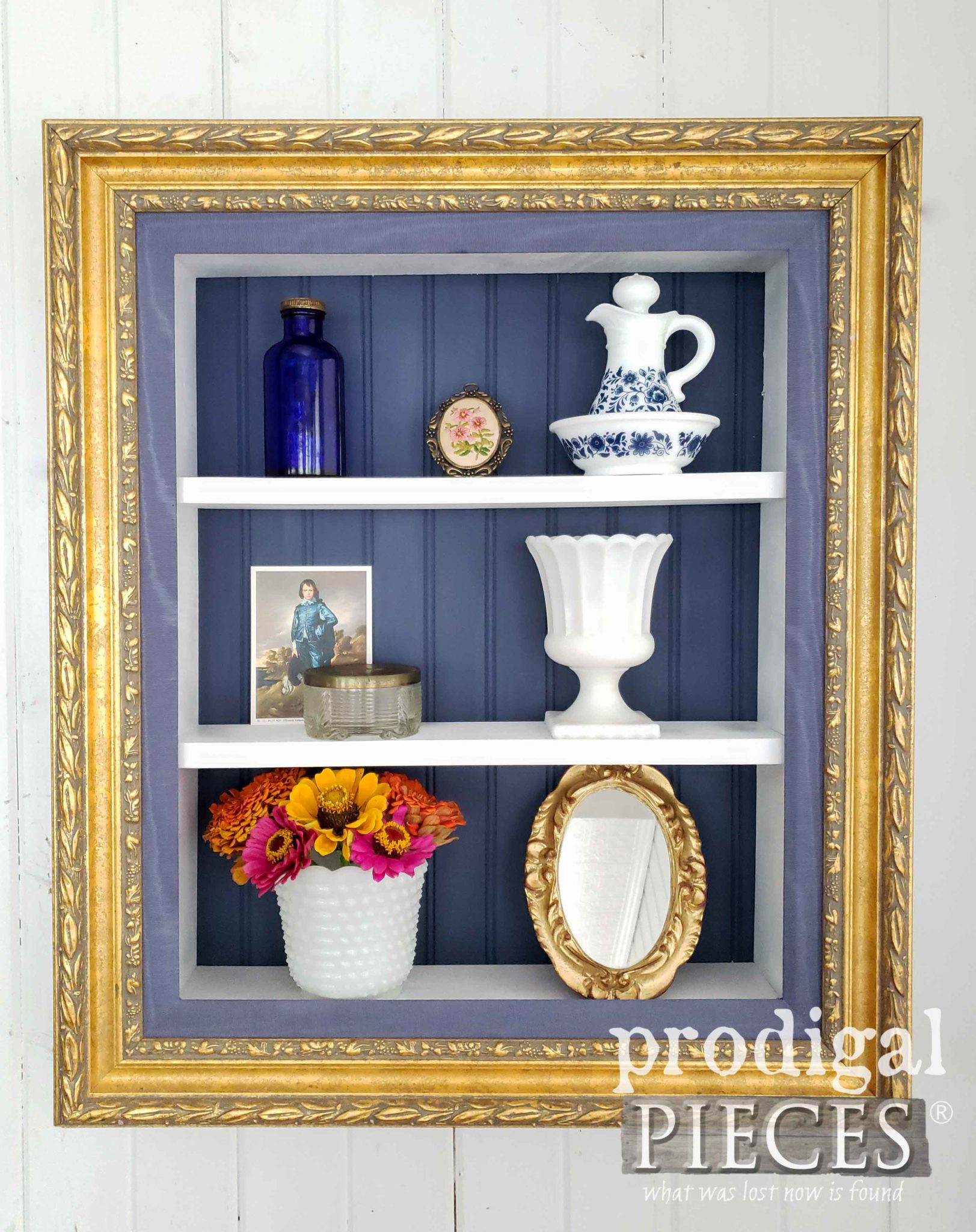 Gilded Repurposed Picture Frame Shelf with Blue Accents for Beautiful Home Decor by Larissa of Prodigal Pieces | prodigalpieces.com