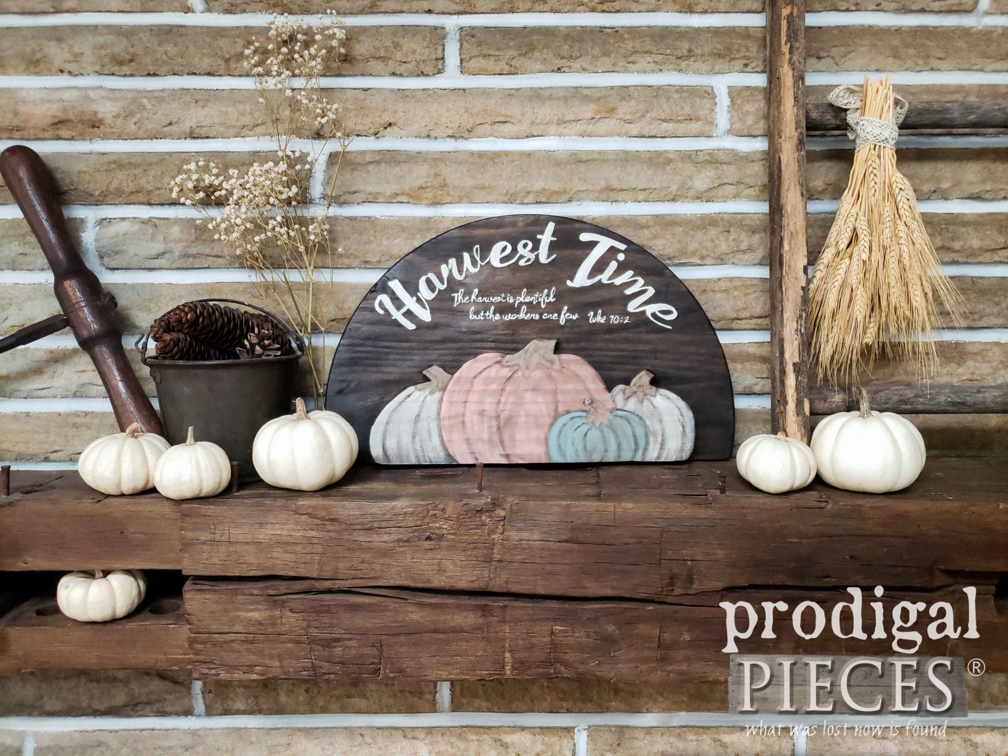 Handmade Harvest Time Sign with Scripture of Luke 10:2 by Larissa of Prodigal Pieces | prodigalpieces.com