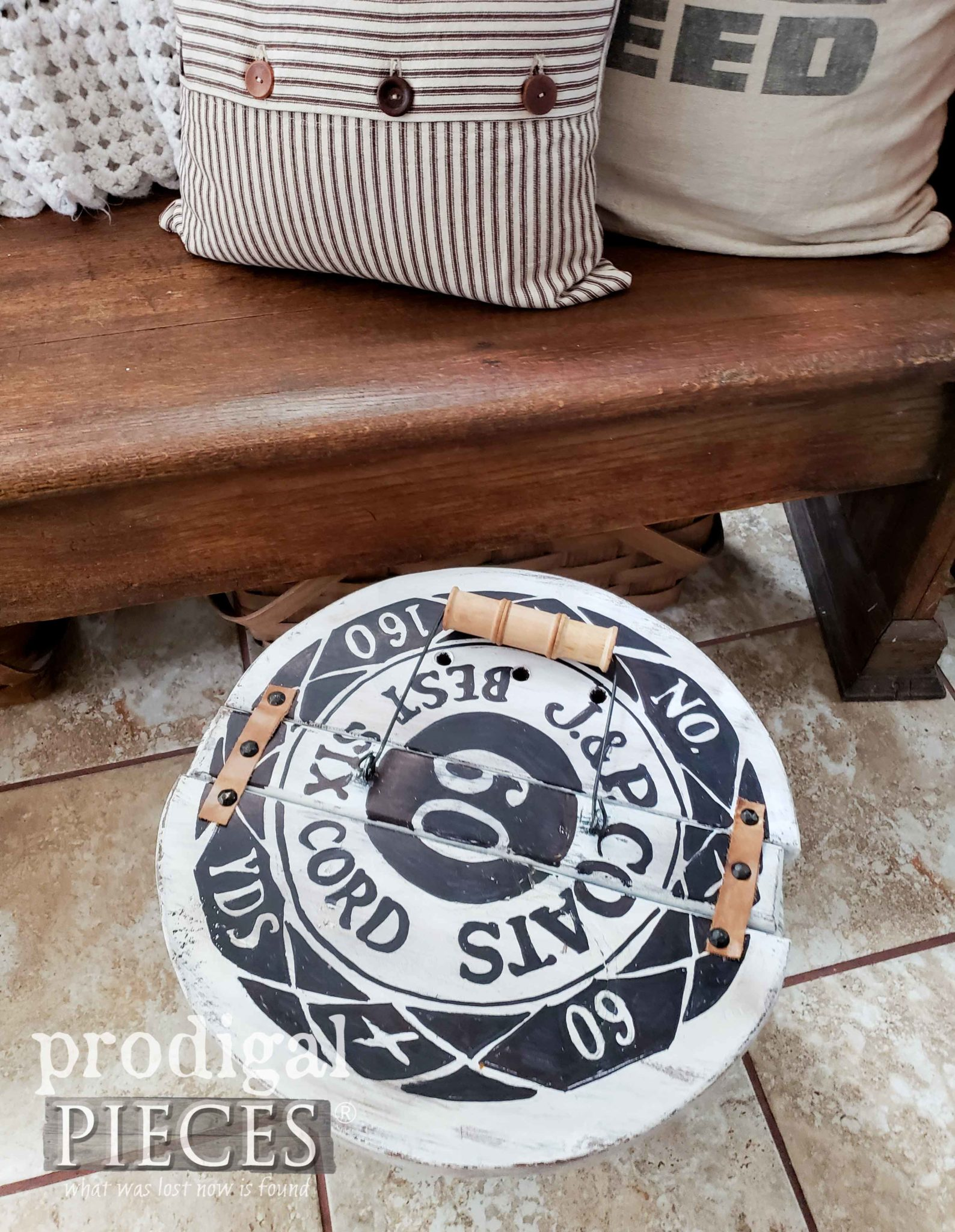 Rustic Style Farmhouse Sewing Basket with Vintage Typography by Larissa of Prodigal Pieces | prodigalpieces.com