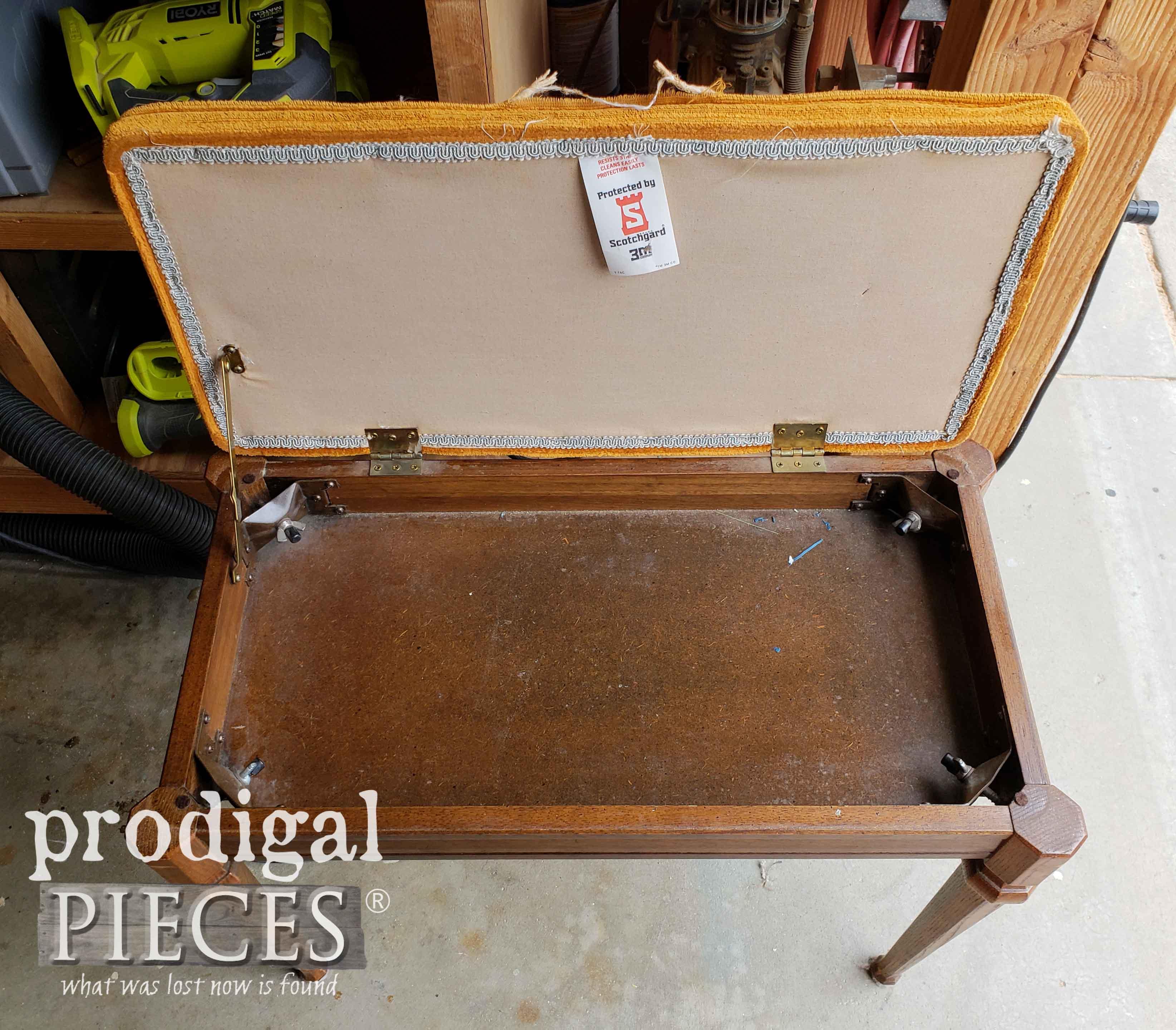 Inside Vintage Piano Bench | prodigalpieces.com