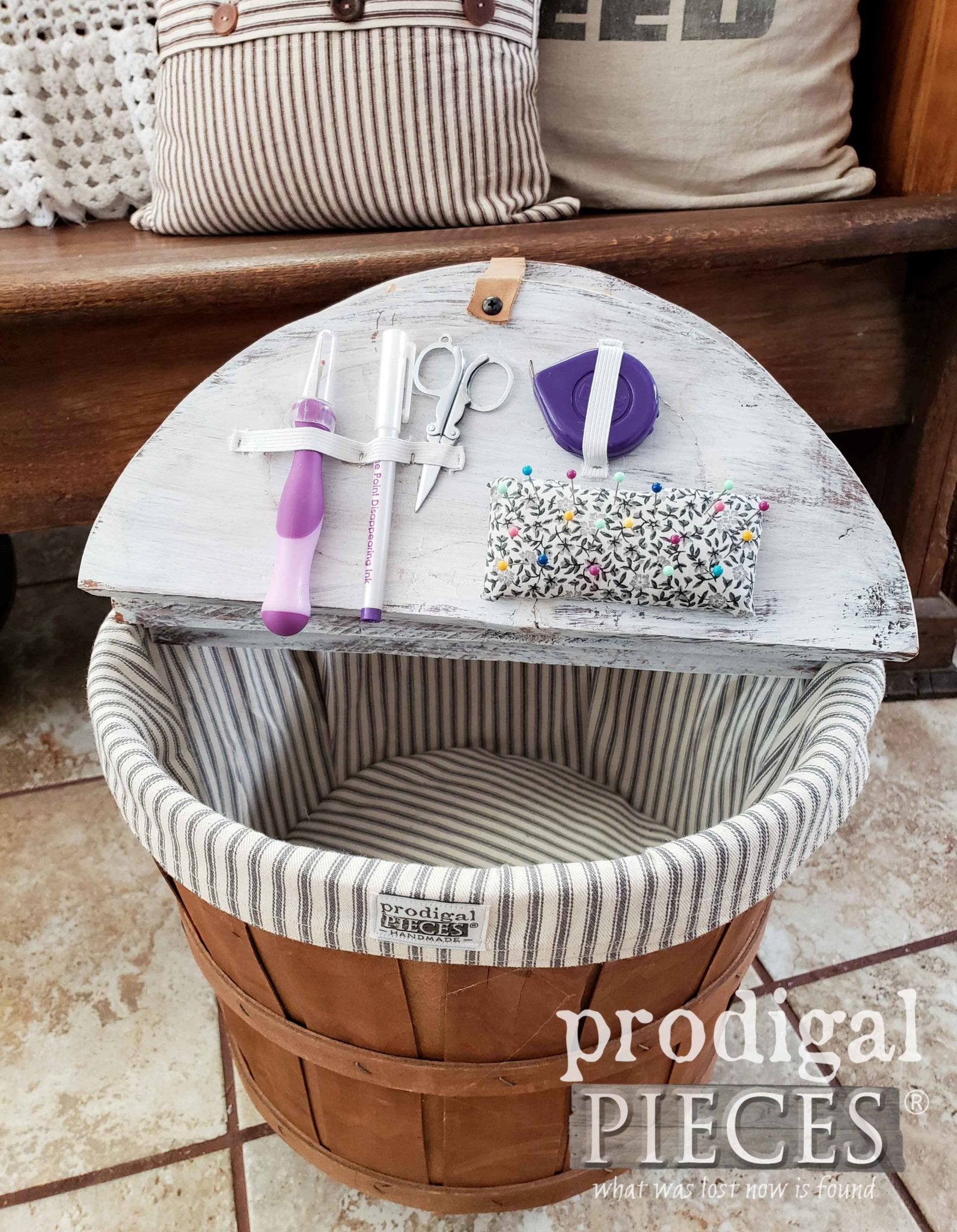 Farmhouse Sewing Basket with Interior Notions Storage by Larissa of Prodigal Pieces | prodigalpieces.com