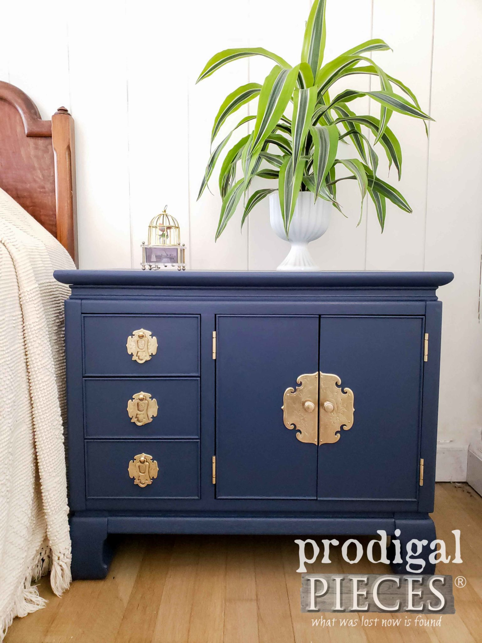 Mid Century Nightstand in Blue with Brass Hardware by Larissa of Prodigal Pieces | prodigalpieces.com
