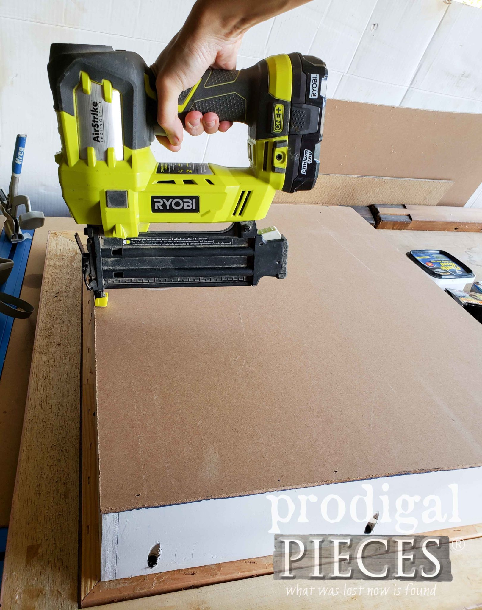 Ryobi Nailer to Attach Repurposed Picture Frame Backing | prodigalpieces.com
