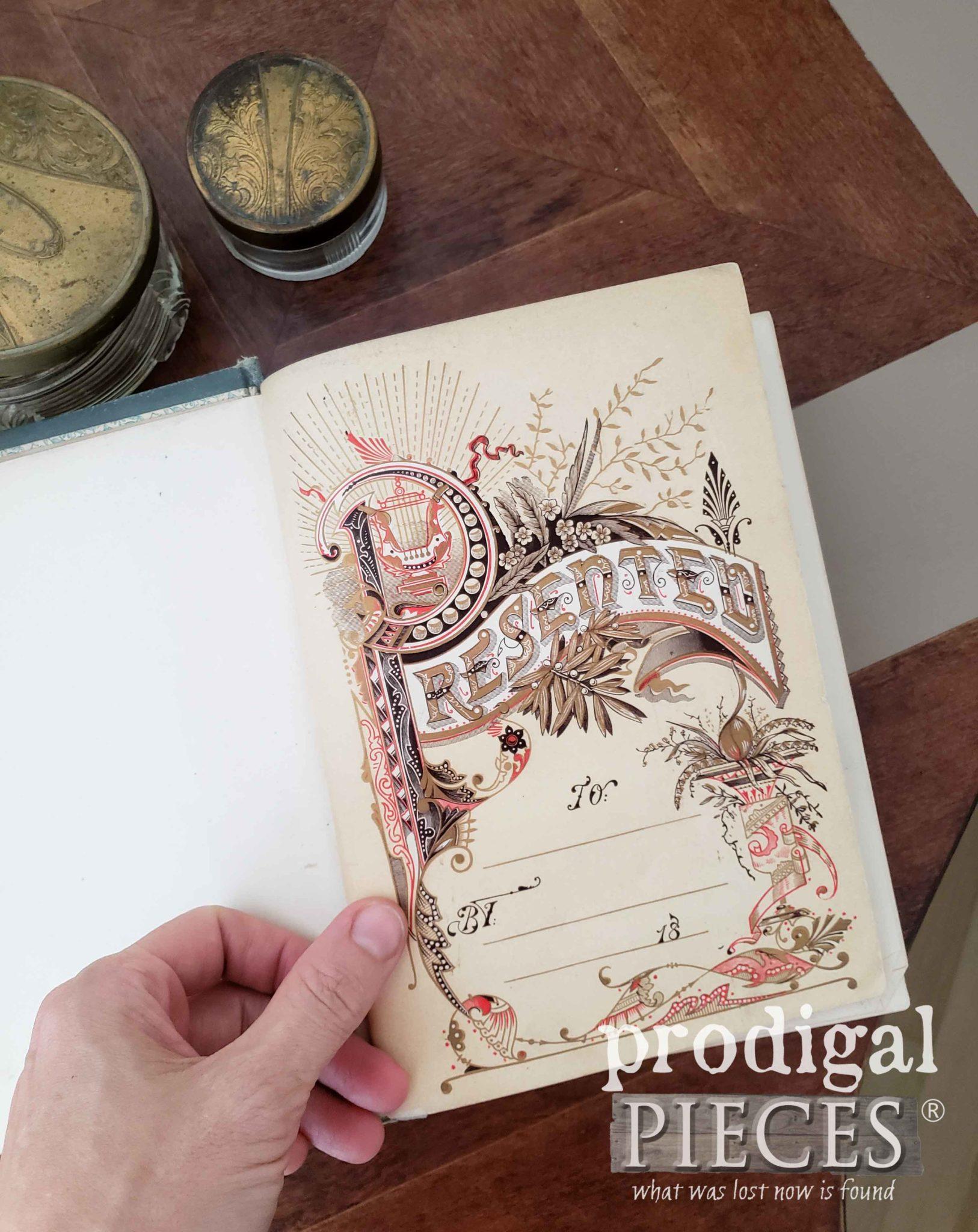 Open Presentation Page of Antique Etiquette Book by Larissa of Prodigal Pieces | prodigalpieces.com