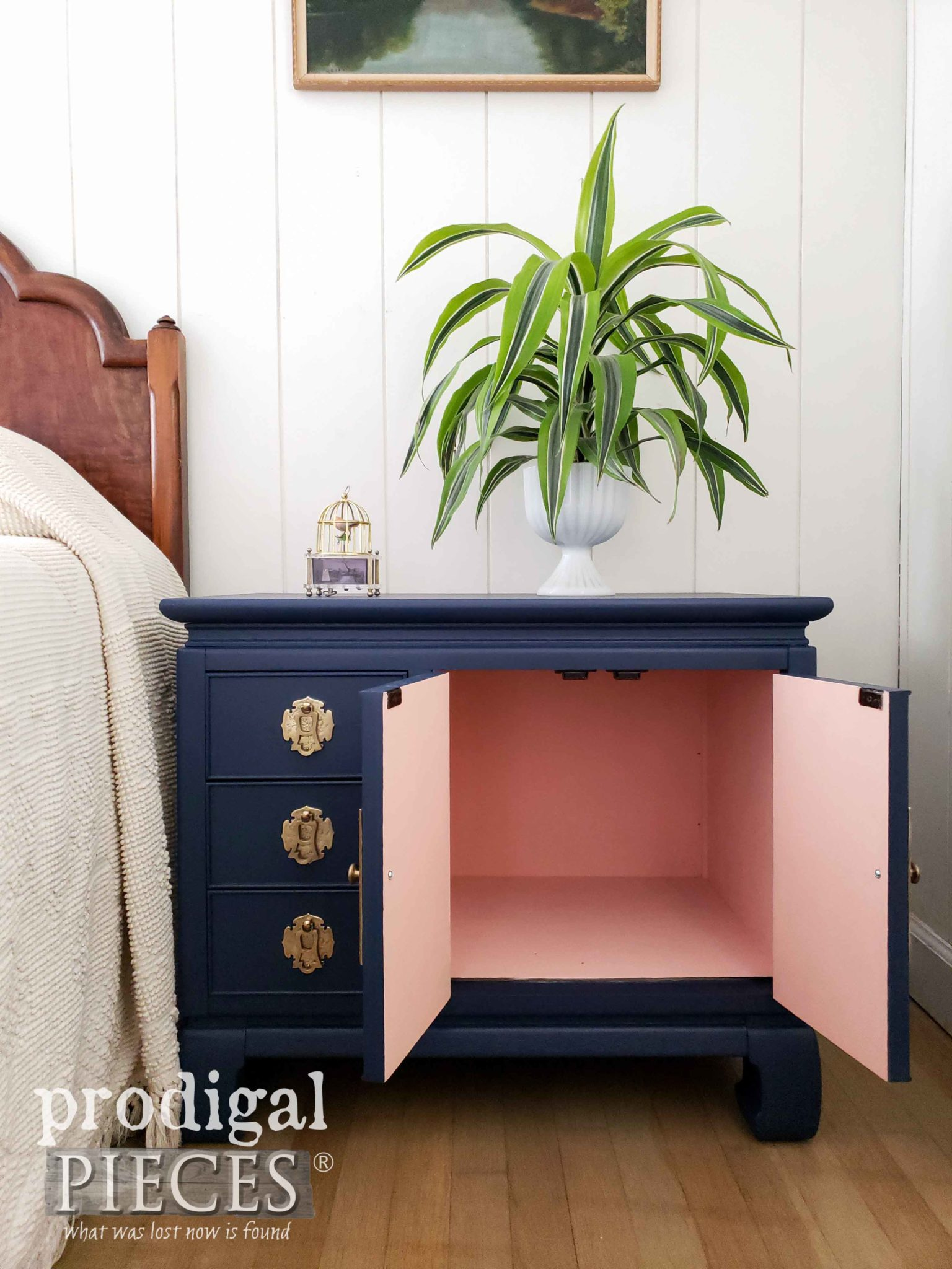 Open Vintage Chest Nightstand with Color Pop Interior by Larissa of Prodigal Pieces | prodigalpieces.com