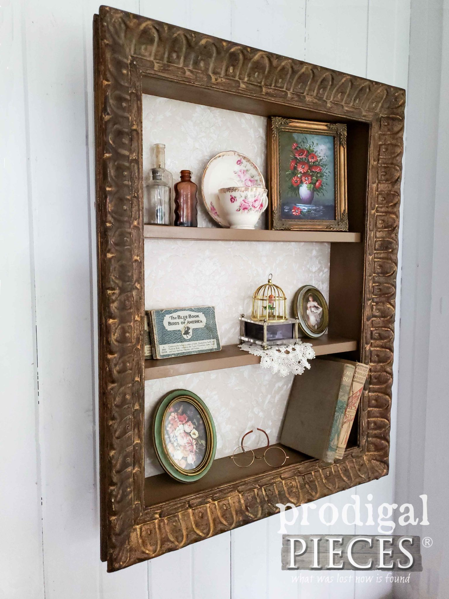 Ornate Picture Frame Shelf Made from Antique Picture Frame by Larissa of Prodigal Pieces | prodigalpieces.com