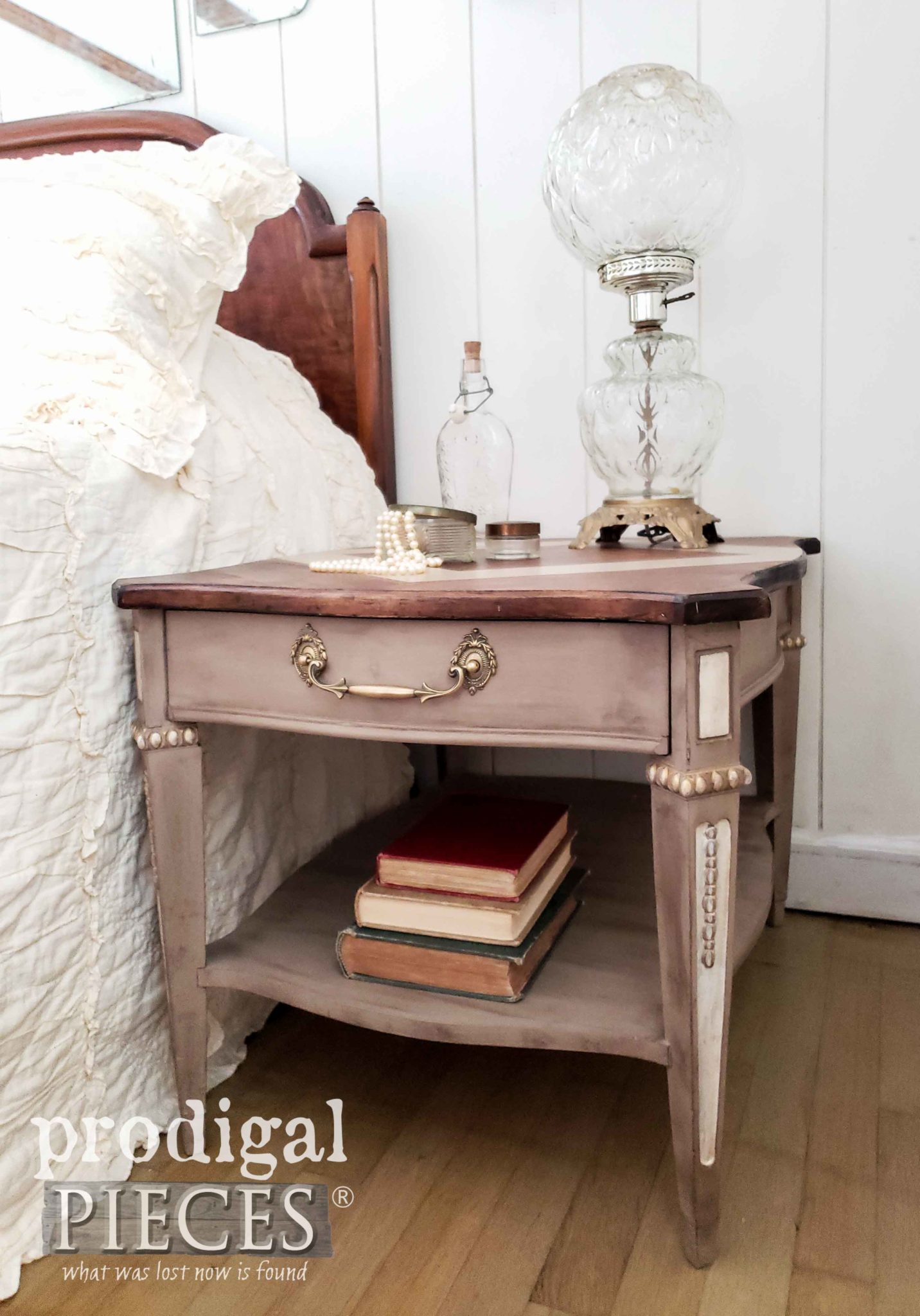 Ornate Vintage Side Table Nightstand Refinished by Larissa of Prodigal Pieces | prodigalpieces.com