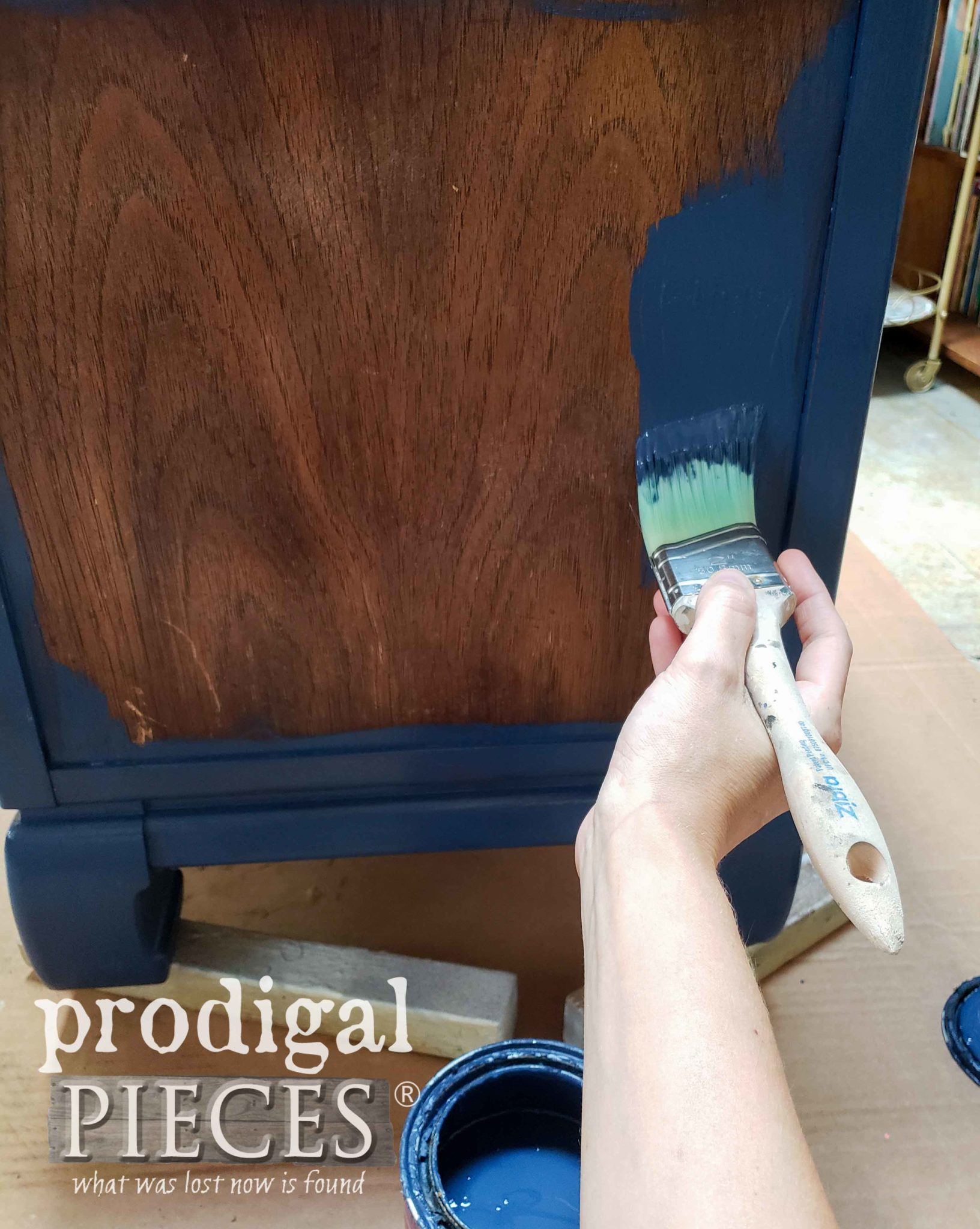 Painting Chest Blue with Zibra Paint Brush | prodigalpieces.com