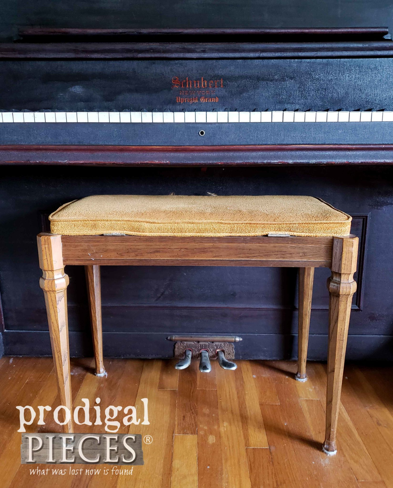 Vintage Piano Bench Before Makeover by Prodigal Pieces | prodigalpieces.com