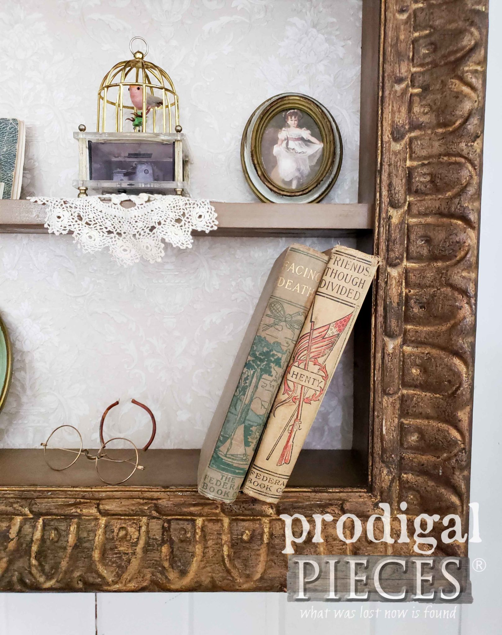 Upcycled Picture Frame Shelving Unit Closeup by Prodigal Pieces | prodigalpieces.com