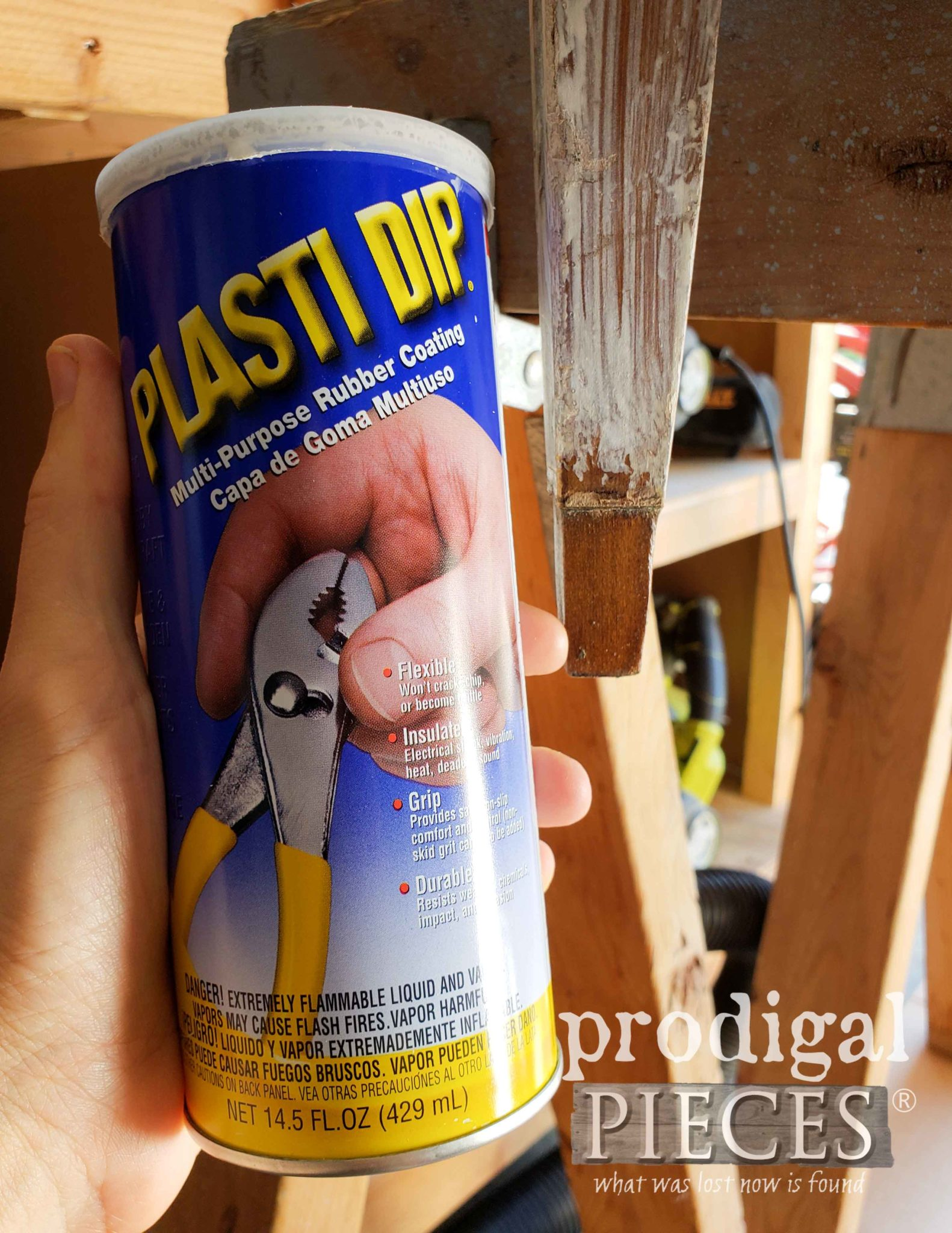 Using Plasti Dip to Save Feet on Table | prodigalpieces.com