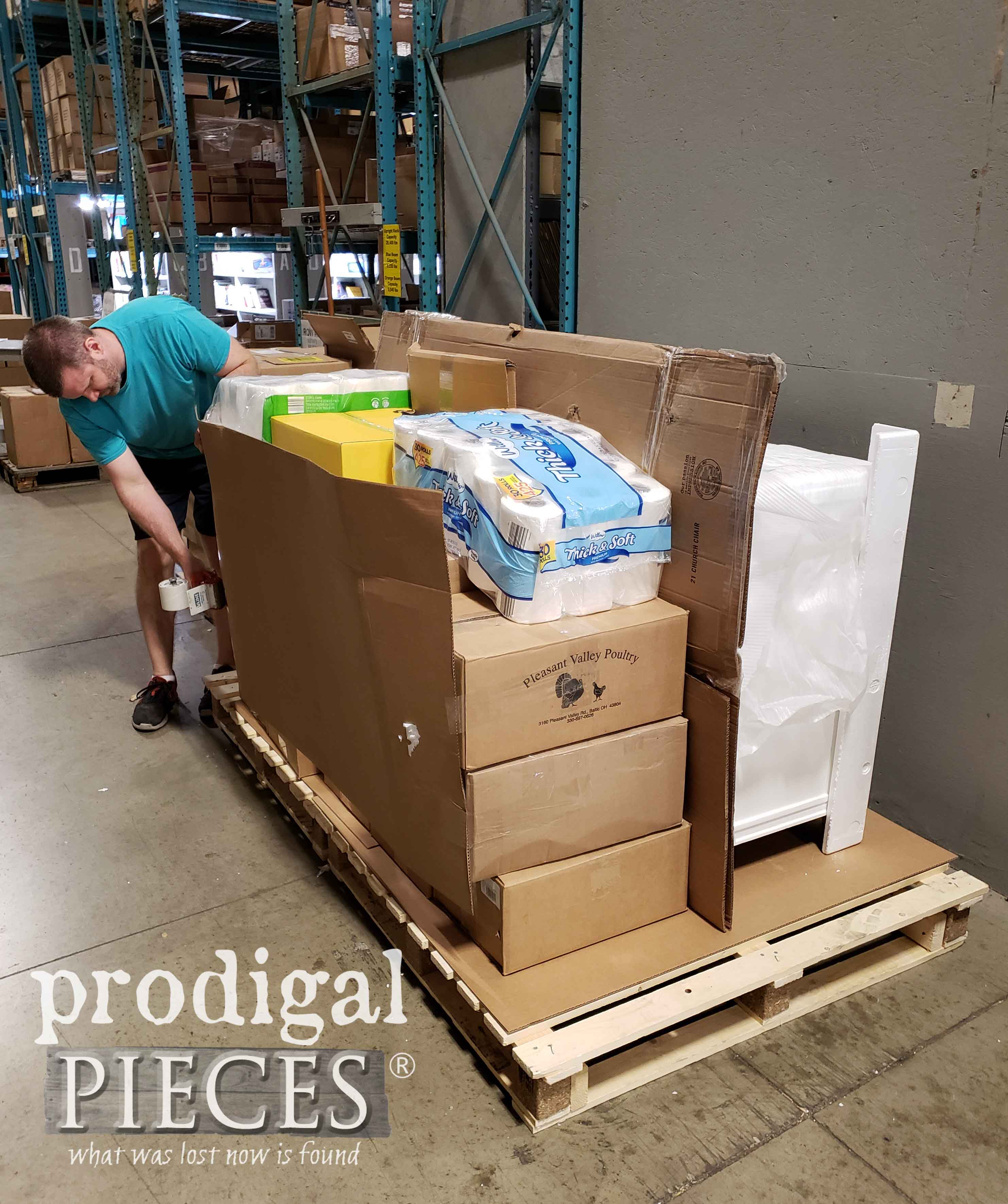 Preparing Pallet to Ship to Hurricane Victims | prodigalpieces.com