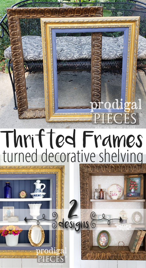 Grab those thrifted store cast-offs and create some repurposed picture frame shelves for your home decor. DIY tutorial by Larissa of Prodigal Pieces | prodigalpieces.com #prodigalpieces #handmade #diy #home #homedecor #homedecorideas #crafts
