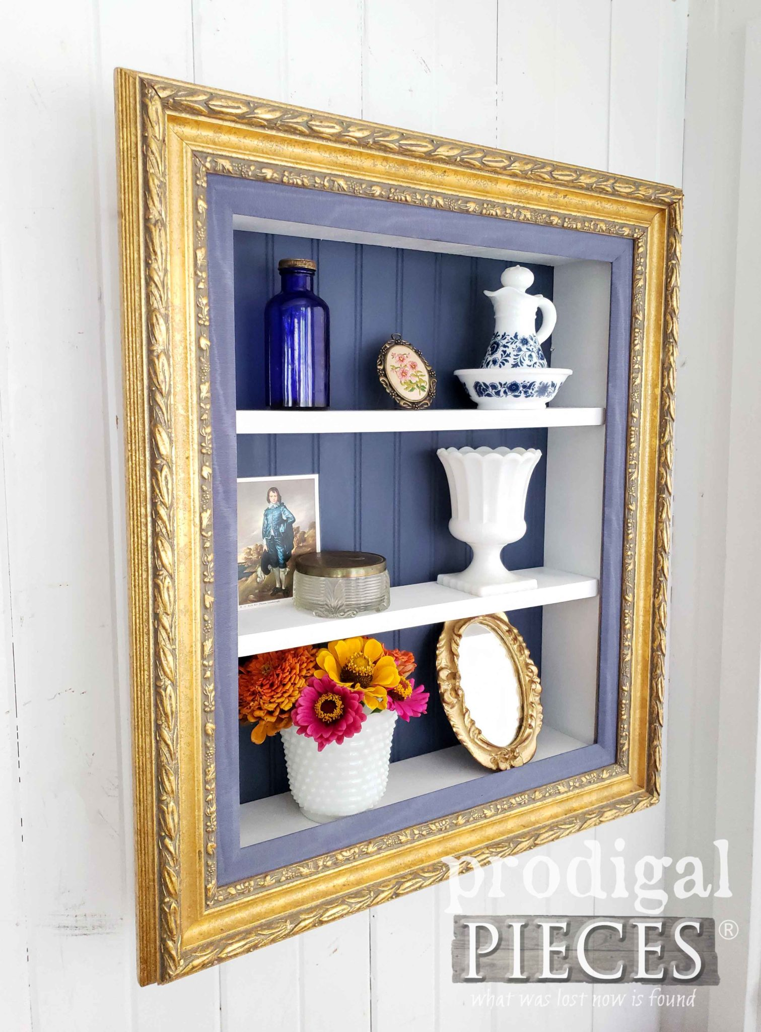 Royal Blue Gilded Repurposed Picture Frame Shelf Built by Larissa of Prodigal Pieces | prodigalpieces.com