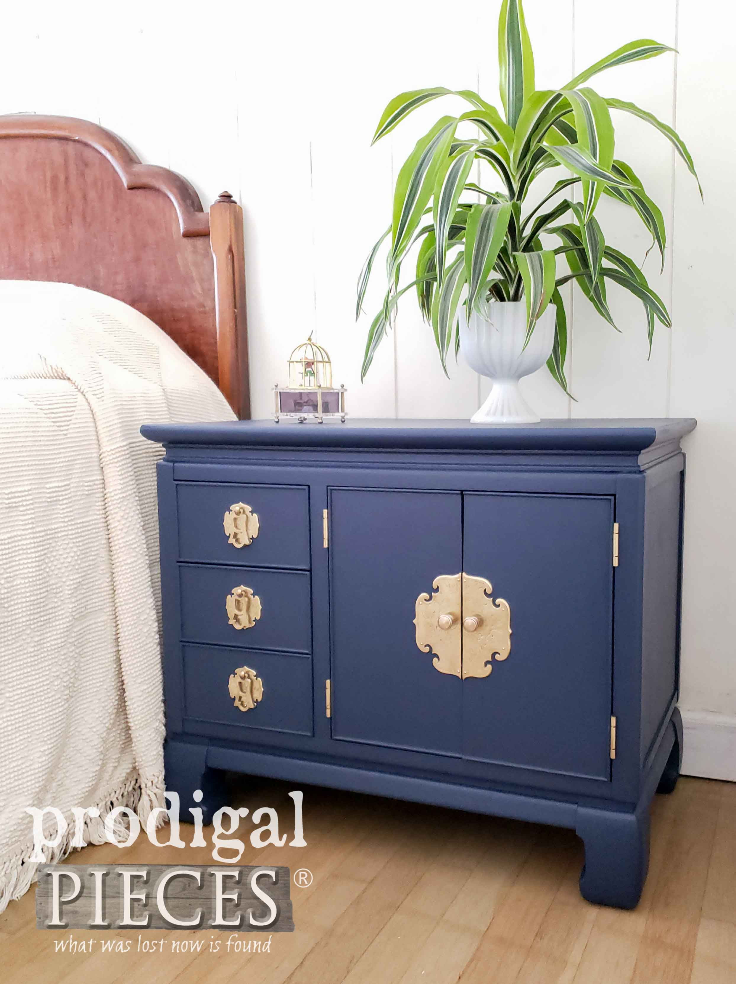 Royal Blue Vintage Nightstand with Brass Hardware for your Home Decor by Larissa of Prodigal Pieces | prodigalpieces.com