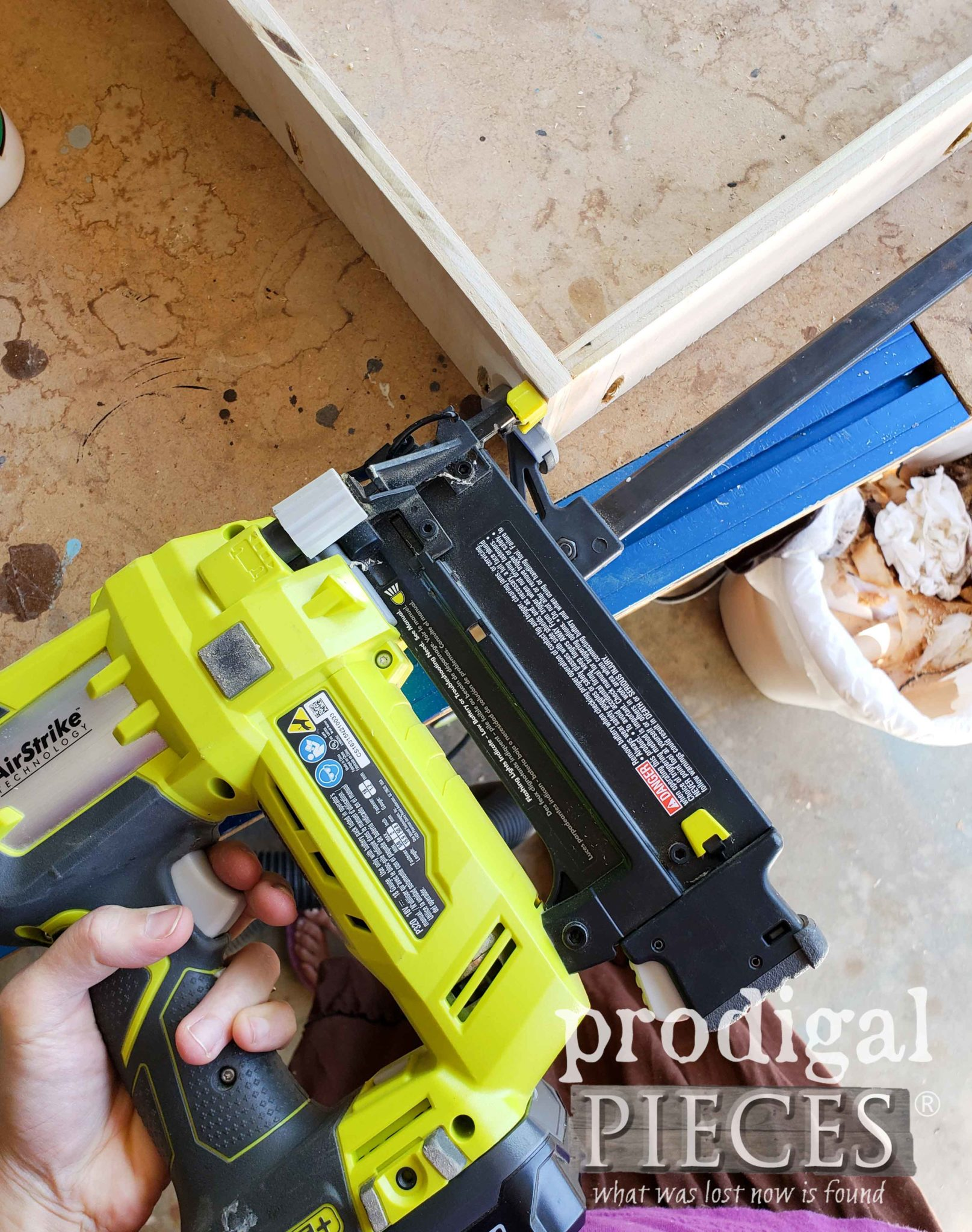 Ryobi Nailer to Assemble Picture Frame Shelf | prodigalpieces.com