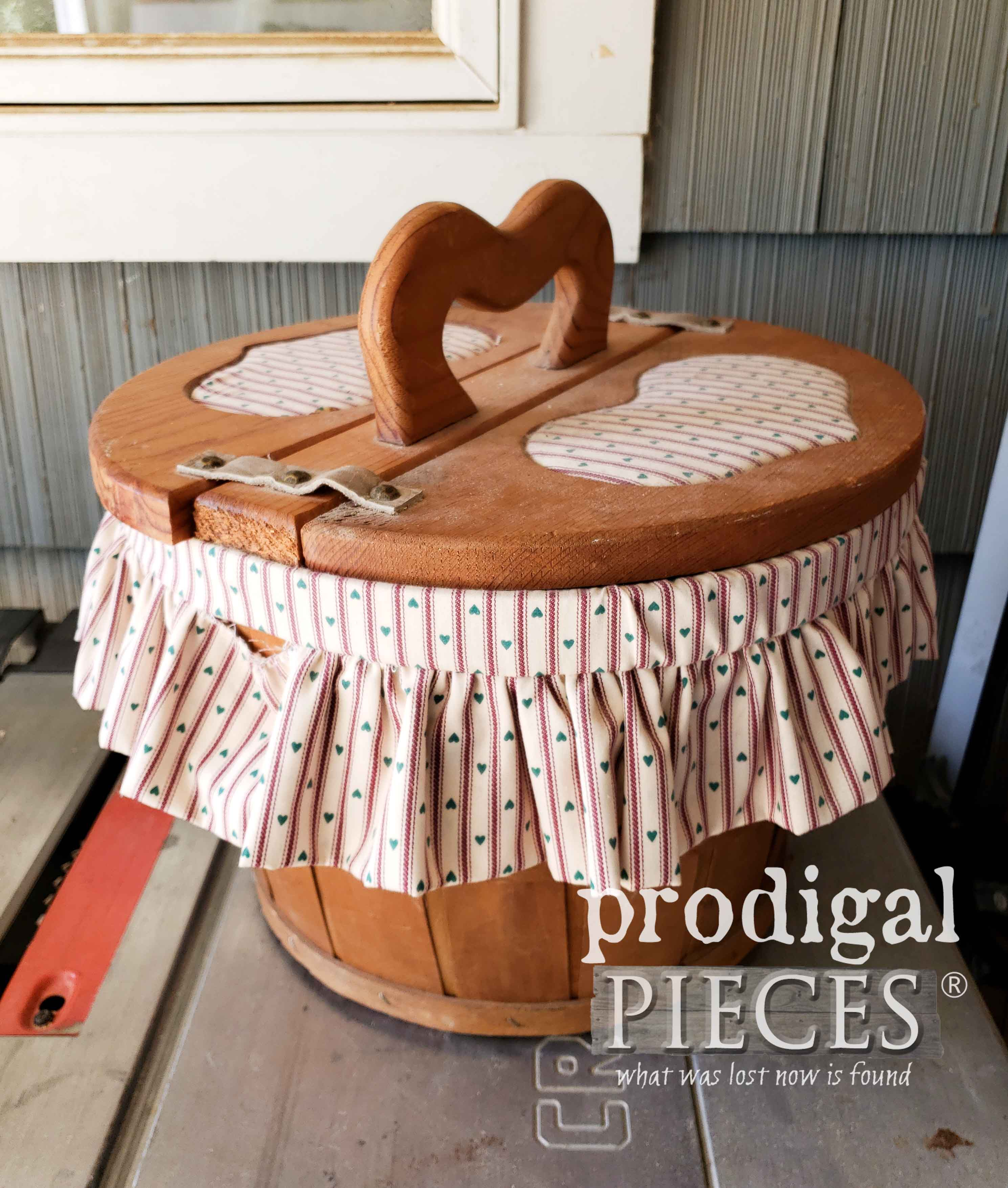 Vintage Sewing Basket Before Makeover by Prodigal Pieces | prodigalpieces.com