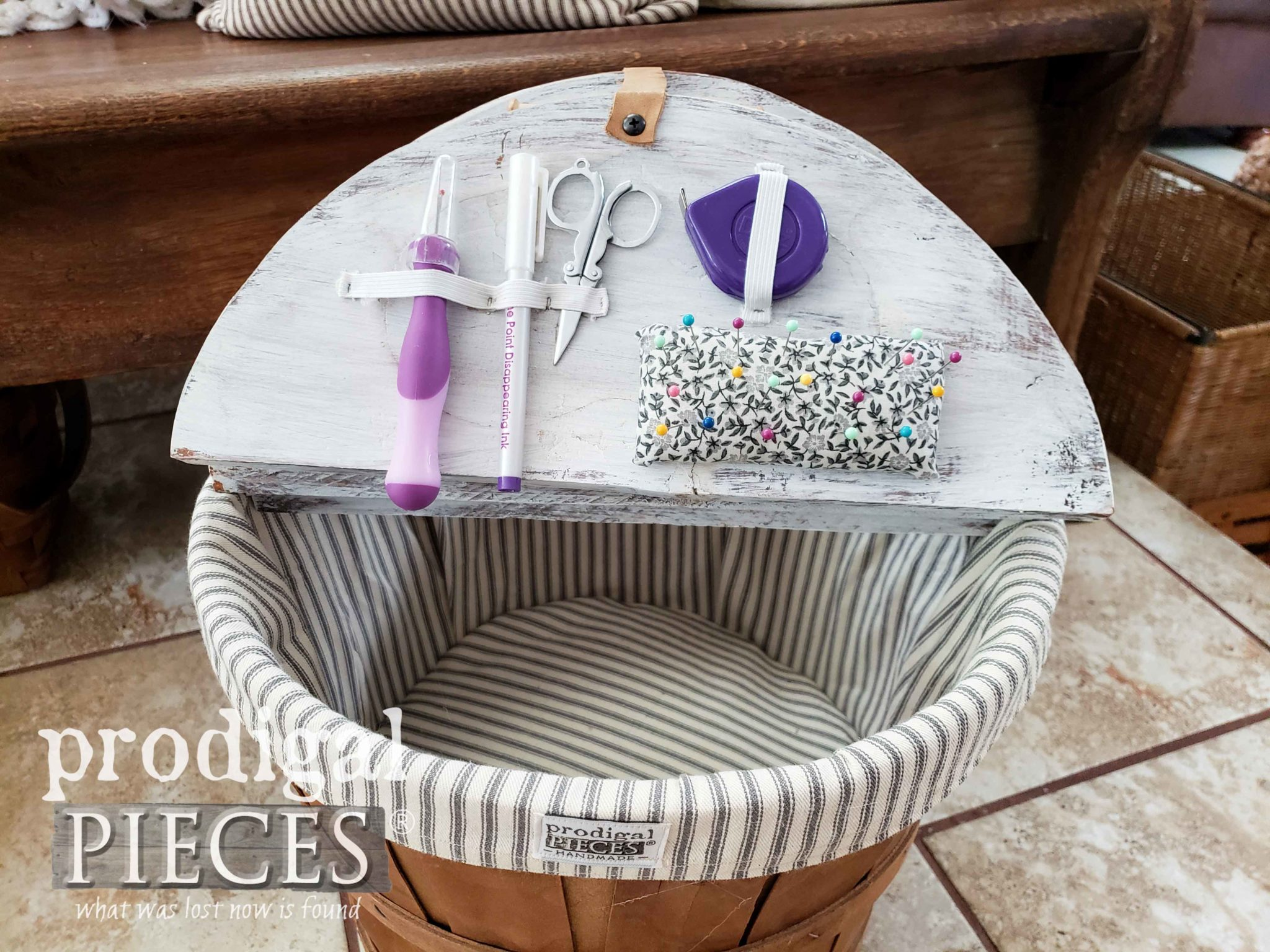 DIY Sewing Notions Storage in Farmhouse Sewing Basket by Larissa of Prodigal Pieces | prodigalpieces.com