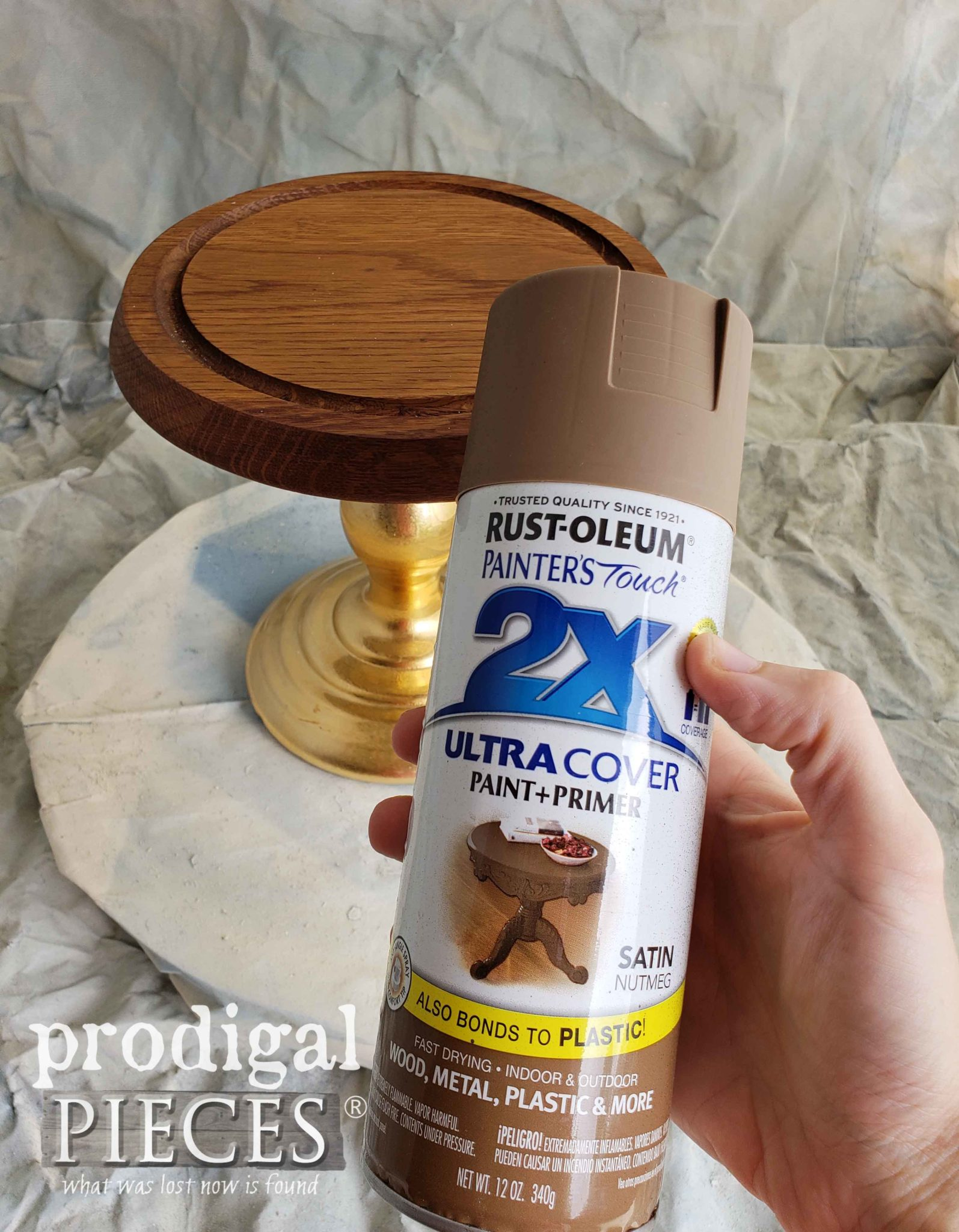 Spray Painting Upcycled Cheese Dome Cloche with Rustoleum by Prodigal Pieces | prodigalpieces.com